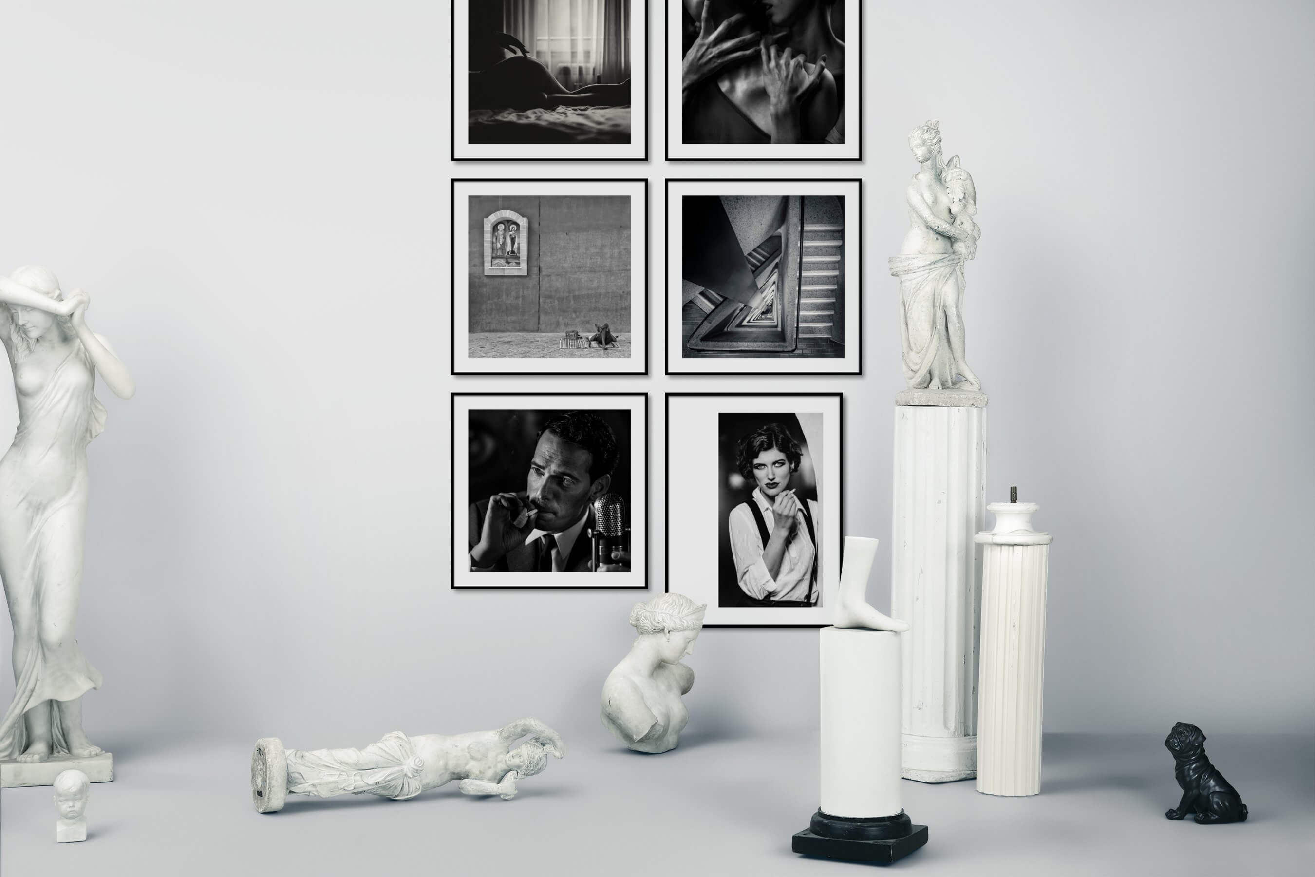 Gallery wall idea with six framed pictures arranged on a wall depicting Fashion & Beauty, Black & White, For the Moderate, and Vintage