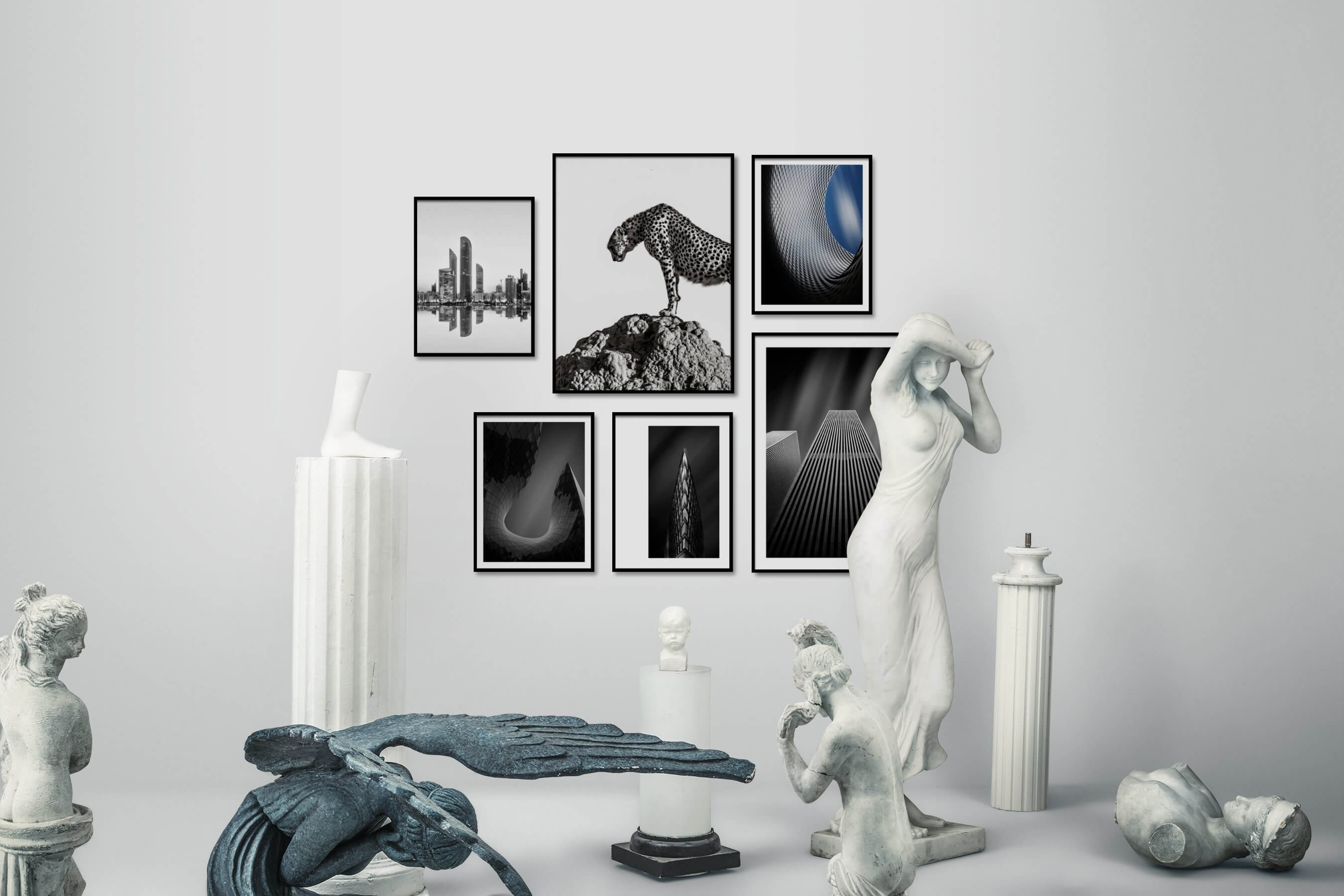 Gallery wall idea with six framed pictures arranged on a wall depicting Black & White, City Life, Bright Tones, For the Moderate, Animals, and For the Minimalist