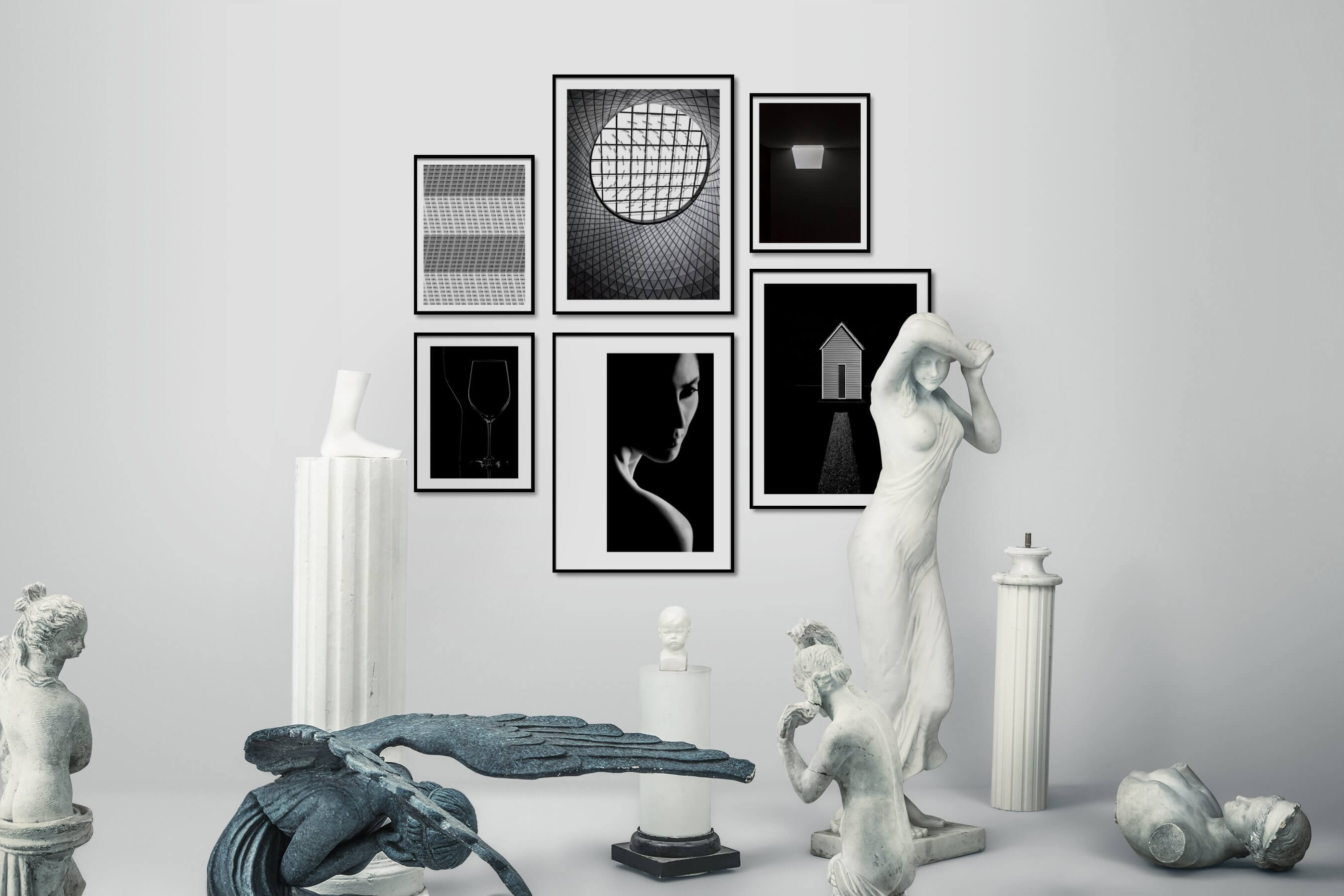 Gallery wall idea with six framed pictures arranged on a wall depicting Black & White, For the Moderate, For the Maximalist, For the Minimalist, and Fashion & Beauty