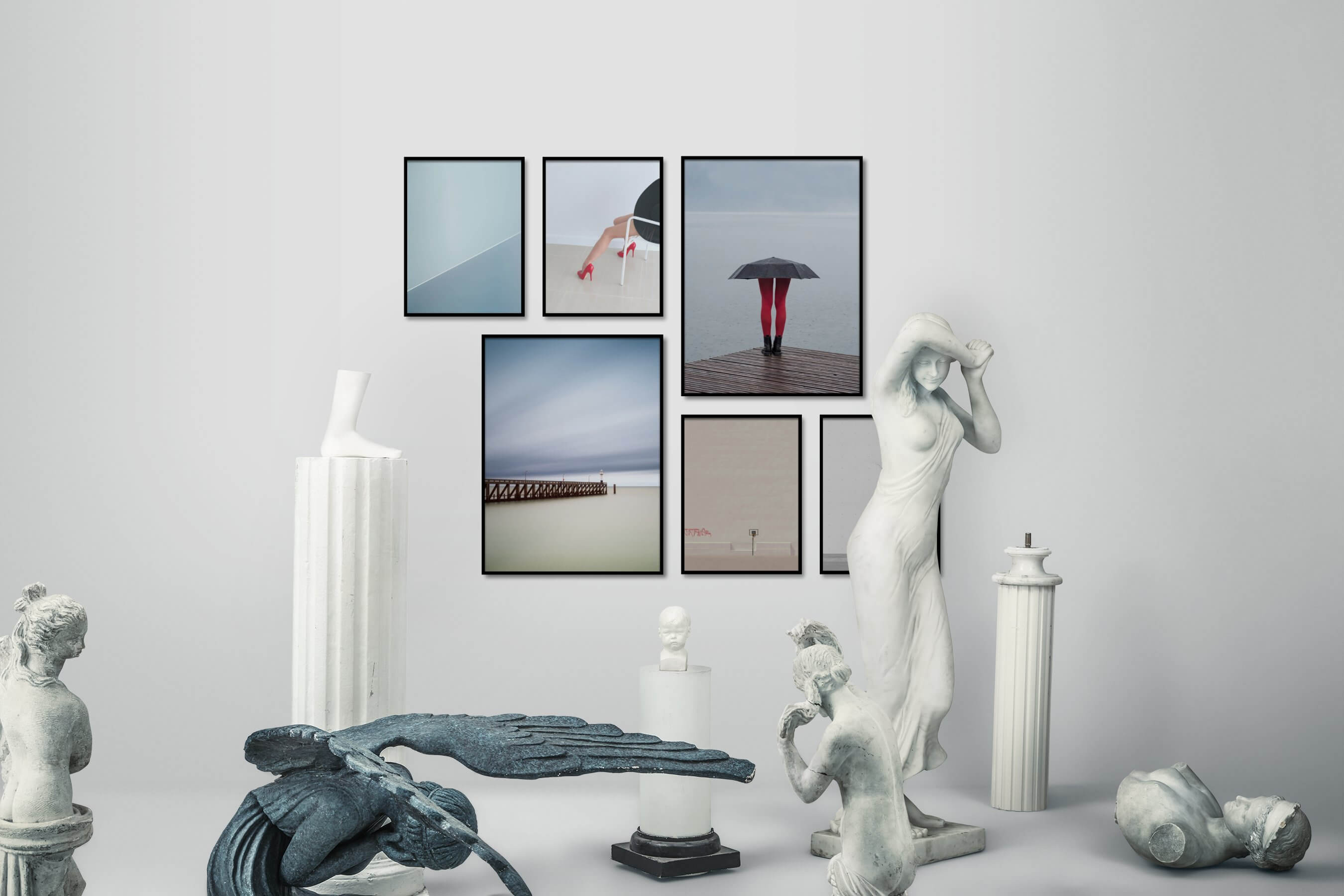 Gallery wall idea with six framed pictures arranged on a wall depicting For the Minimalist, Fashion & Beauty, Mindfulness, Artsy, For the Moderate, City Life, and Black & White