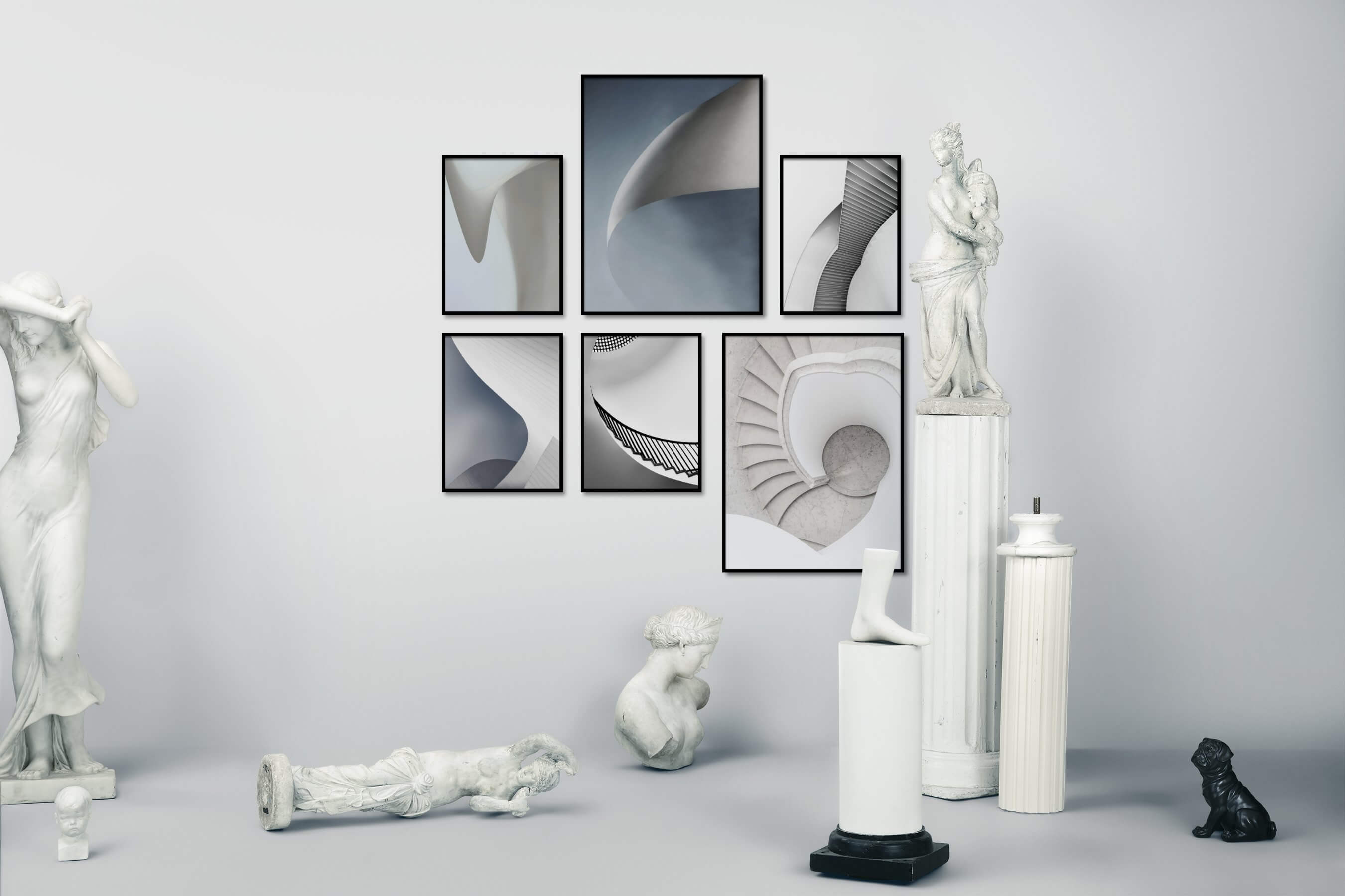 Gallery wall idea with six framed pictures arranged on a wall depicting For the Minimalist, Black & White, and For the Moderate