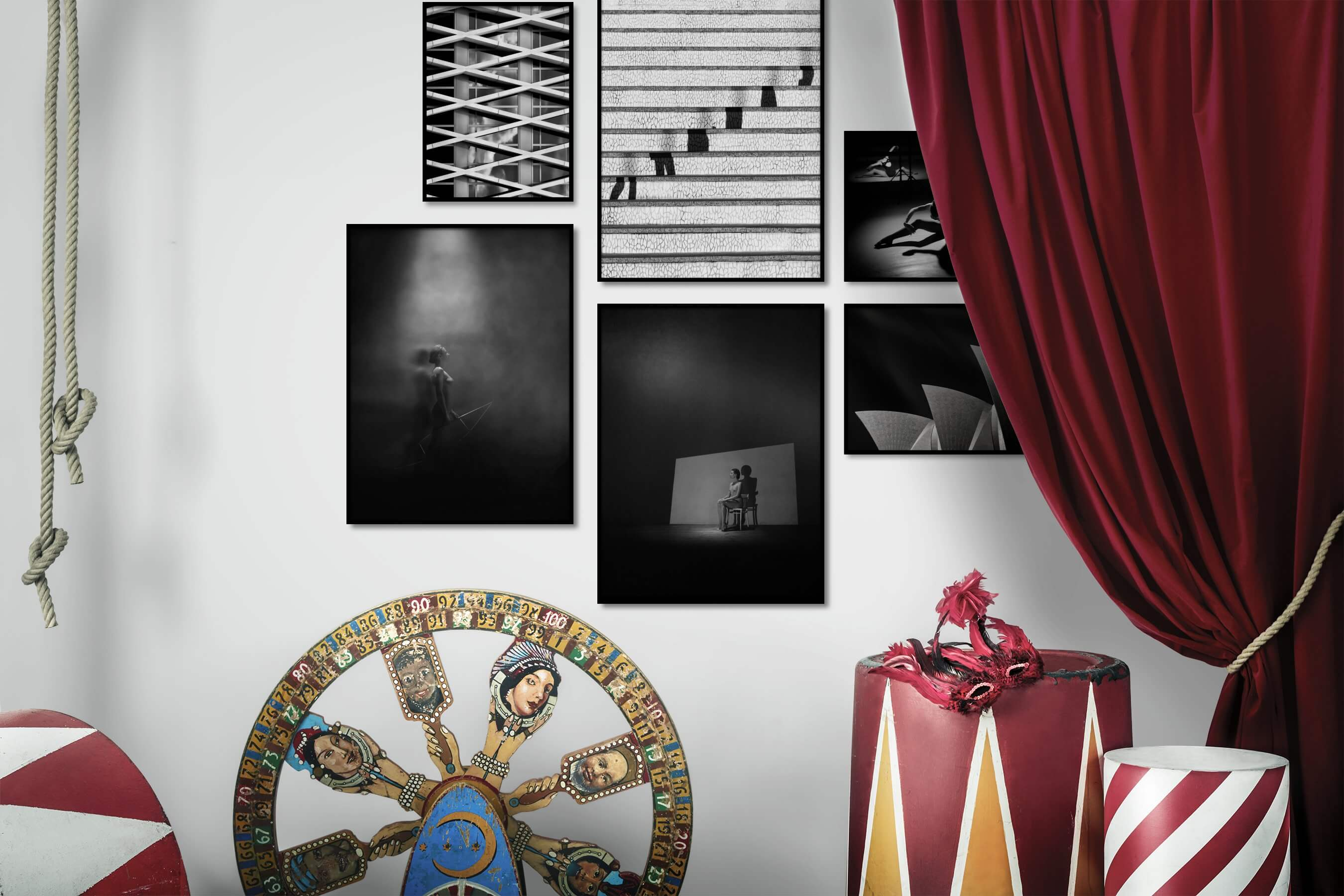 Gallery wall idea with six framed pictures arranged on a wall depicting Black & White, For the Maximalist, For the Moderate, Artsy, Dark Tones, Bold, Fashion & Beauty, For the Minimalist, and City Life