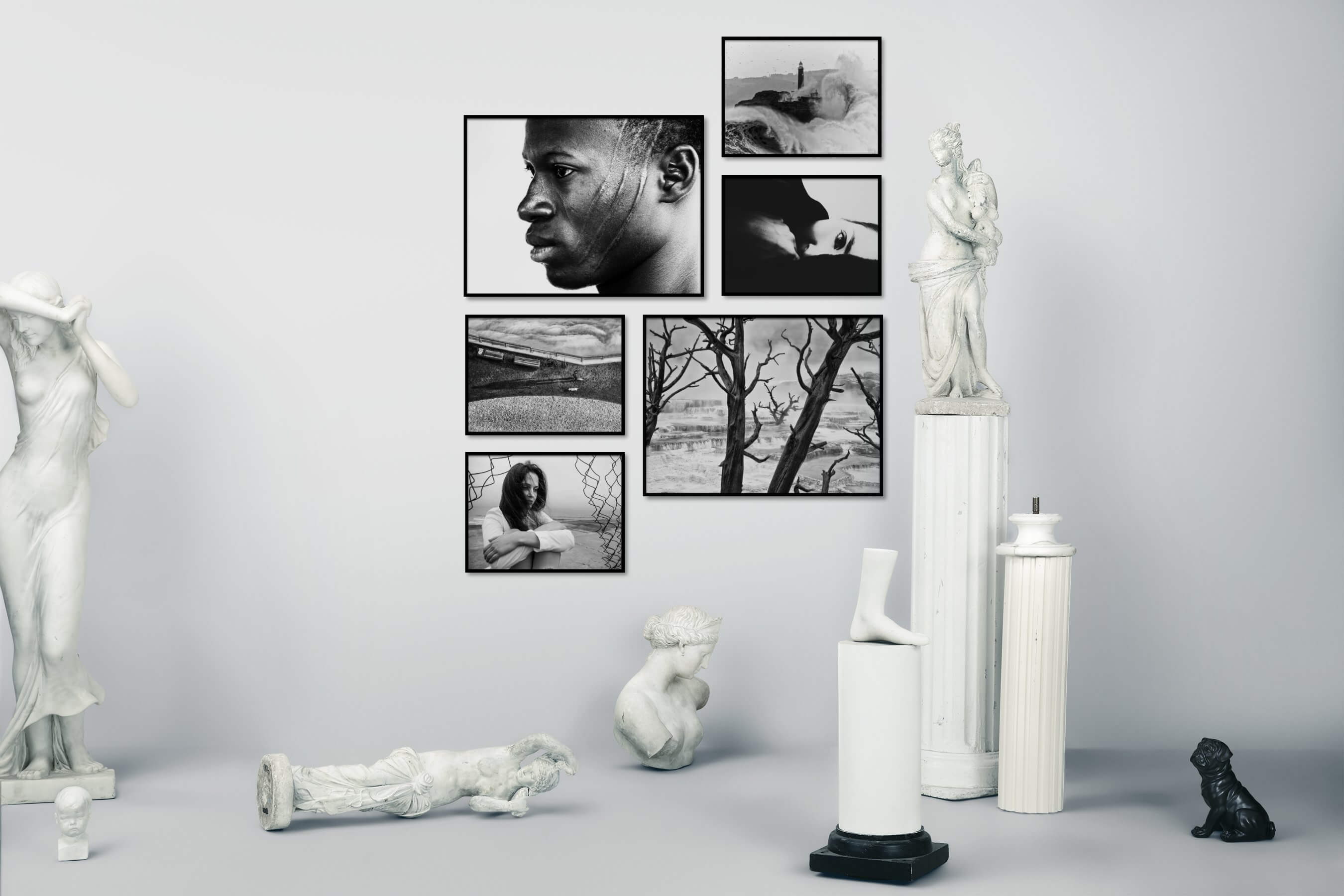 Gallery wall idea with six framed pictures arranged on a wall depicting Fashion & Beauty, Black & White, Artsy, For the Moderate, Nature, and Beach & Water