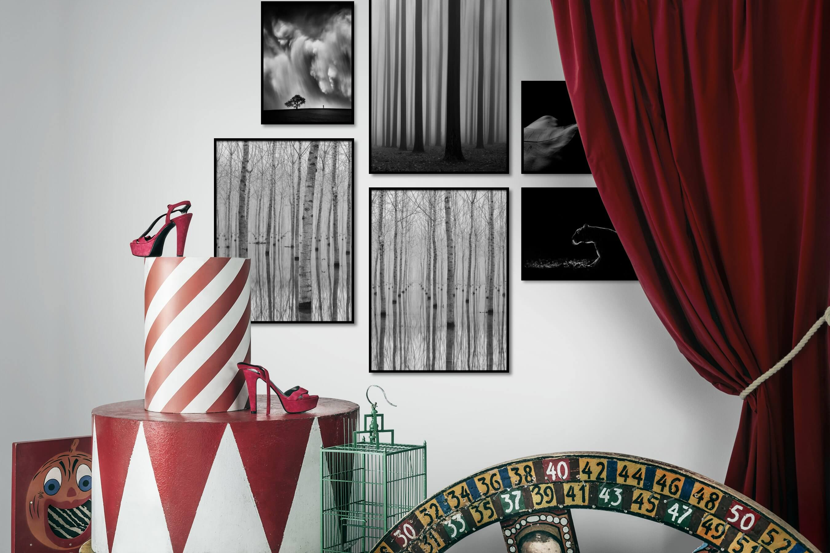 Gallery wall idea with six framed pictures arranged on a wall depicting Black & White, Country Life, Nature, For the Moderate, Artsy, Dark Tones, For the Minimalist, and Animals