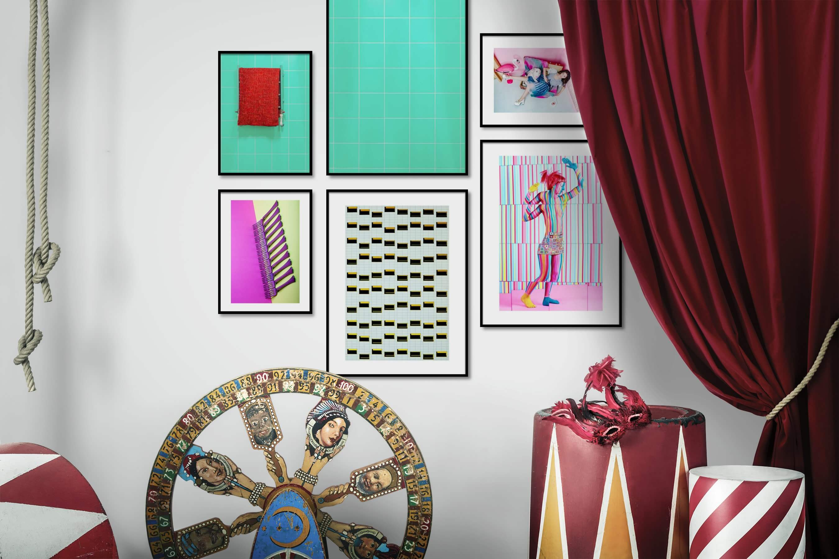 Gallery wall idea with six framed pictures arranged on a wall depicting Colorful, For the Minimalist, For the Moderate, Fashion & Beauty, Artsy, and For the Maximalist