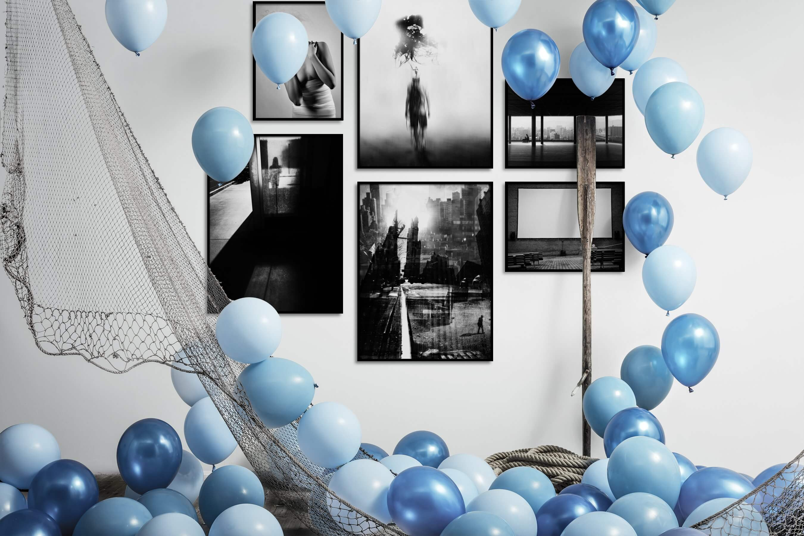 Gallery wall idea with six framed pictures arranged on a wall depicting Fashion & Beauty, Black & White, Artsy, For the Minimalist, City Life, For the Maximalist, Americana, and Dark Tones