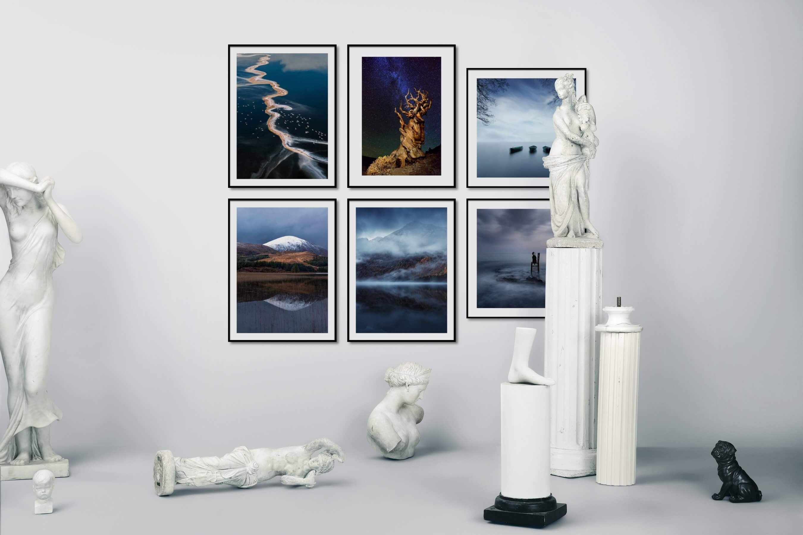 Gallery wall idea with six framed pictures arranged on a wall depicting For the Moderate, Nature, For the Minimalist, Beach & Water, and Mindfulness
