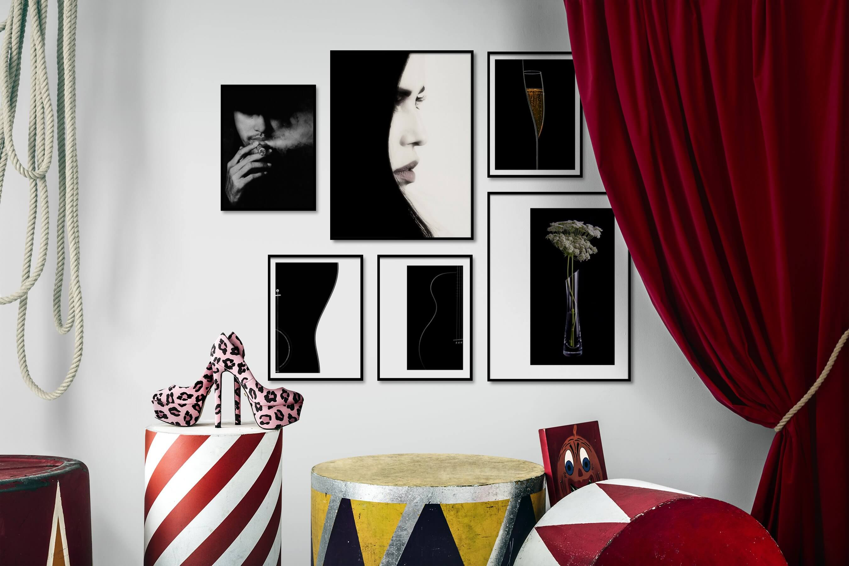 Gallery wall idea with six framed pictures arranged on a wall depicting Fashion & Beauty, Black & White, Dark Tones, For the Minimalist, Vintage, and Flowers & Plants