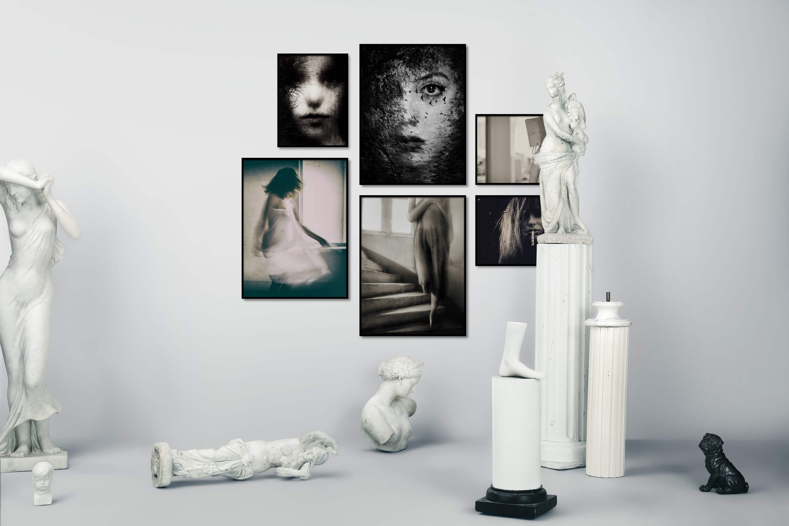 Gallery wall idea with six framed pictures arranged on a wall depicting Artsy, Black & White, Fashion & Beauty, Vintage, and Dark Tones