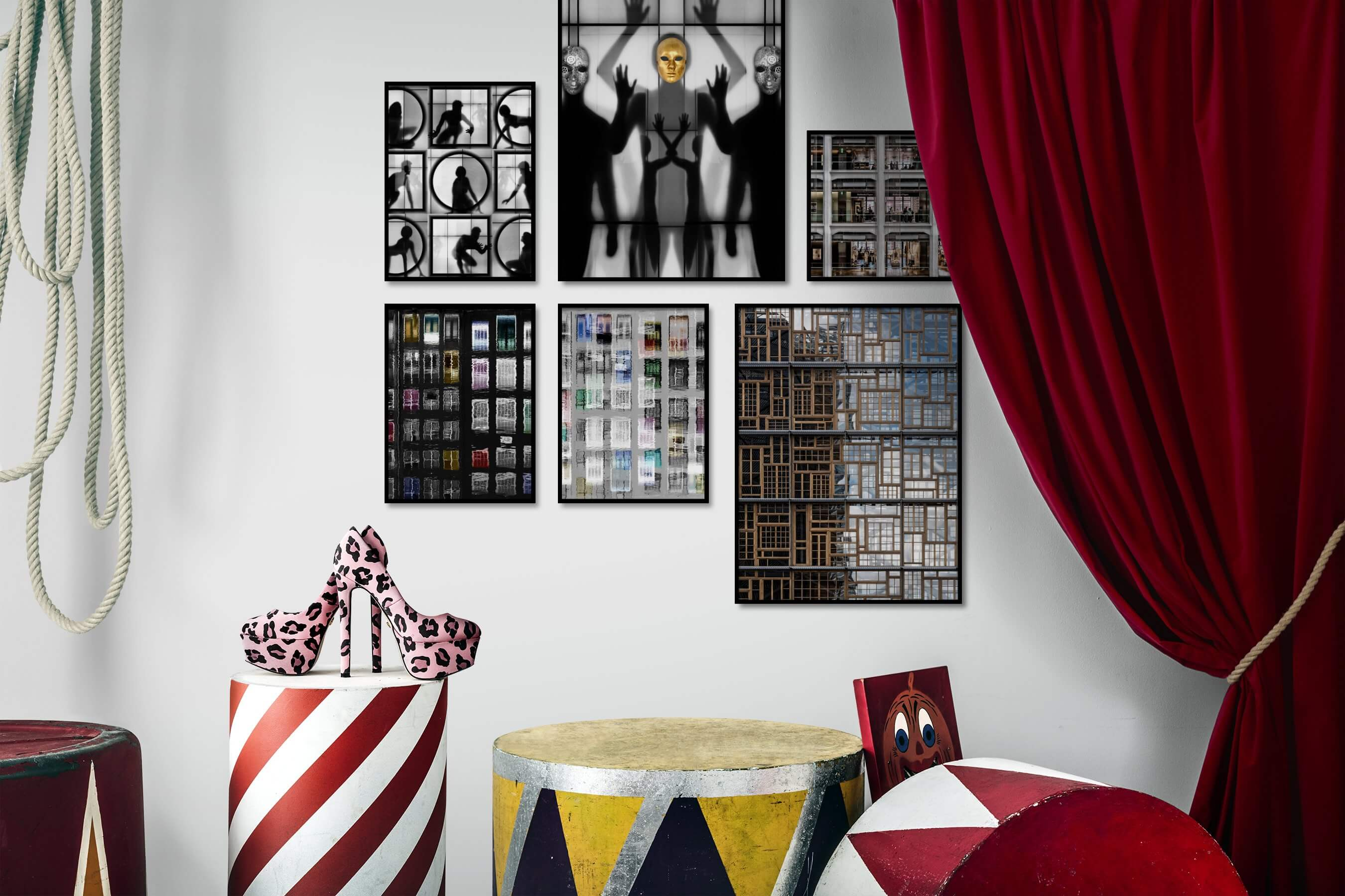 Gallery wall idea with six framed pictures arranged on a wall depicting Artsy, Black & White, For the Maximalist, and City Life
