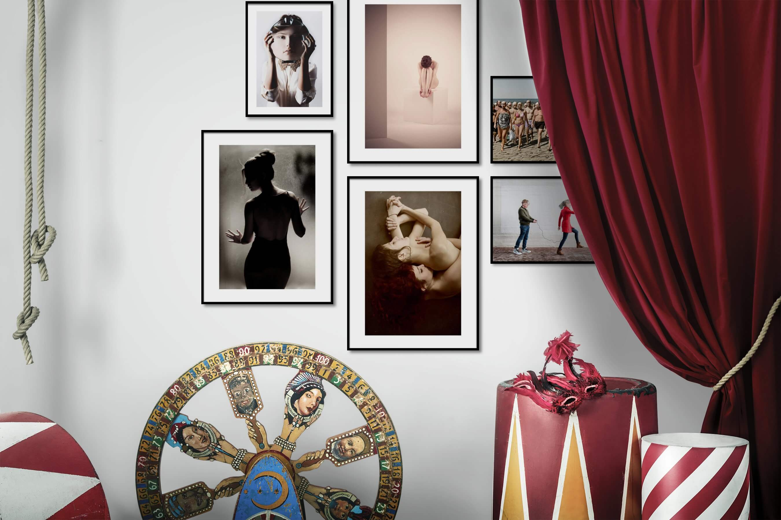 Gallery wall idea with six framed pictures arranged on a wall depicting Artsy, For the Minimalist, Fashion & Beauty, Beach & Water, and Vintage