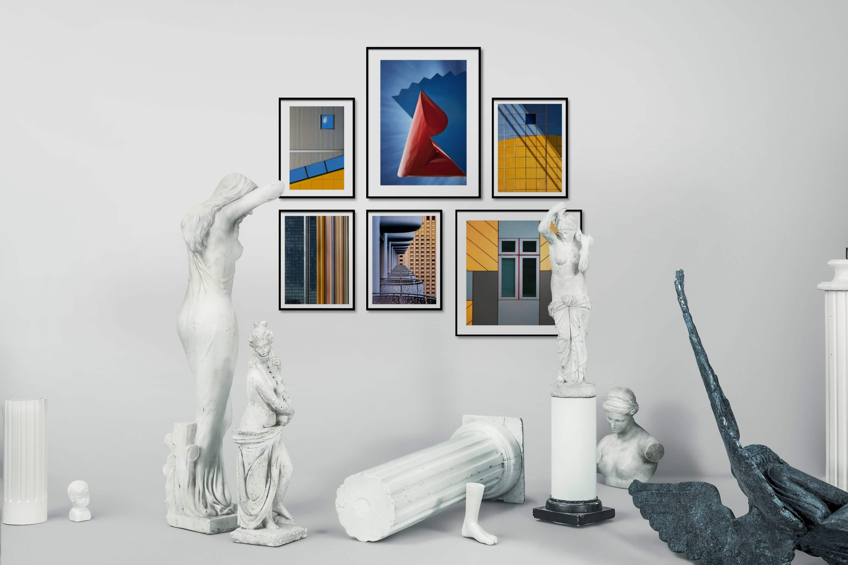 Gallery wall idea with six framed pictures arranged on a wall depicting For the Moderate, For the Maximalist, and City Life