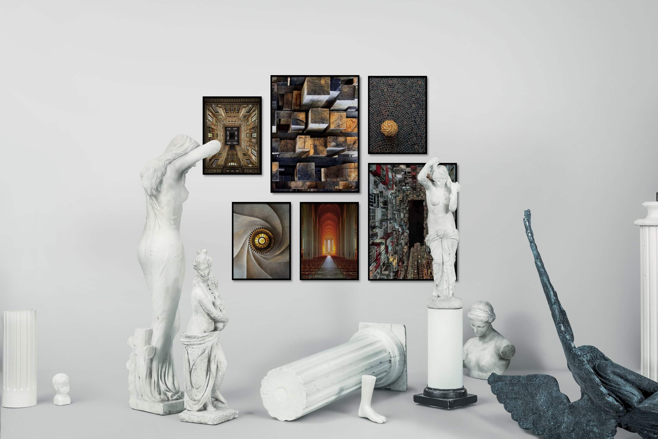 Gallery wall idea with six framed pictures arranged on a wall depicting For the Maximalist, Vintage, City Life, Americana, For the Moderate, and Mindfulness