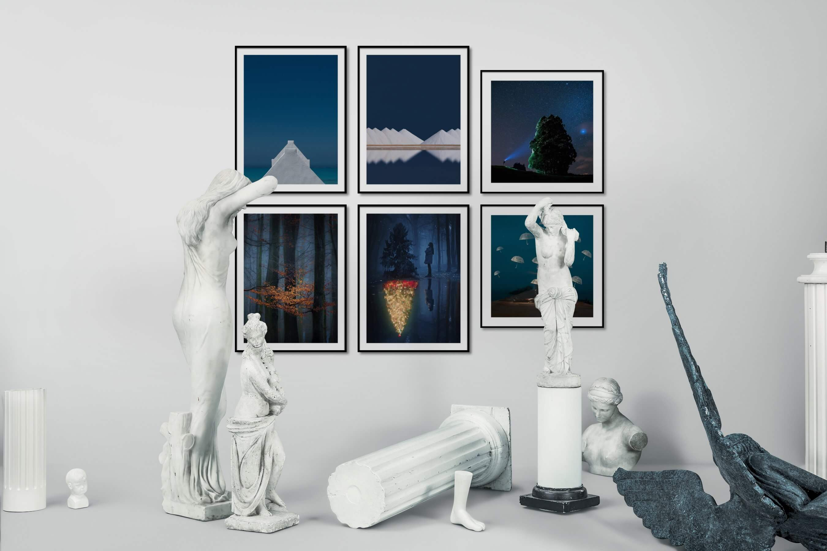 Gallery wall idea with six framed pictures arranged on a wall depicting For the Minimalist, Nature, Artsy, Country Life, For the Moderate, and Mindfulness