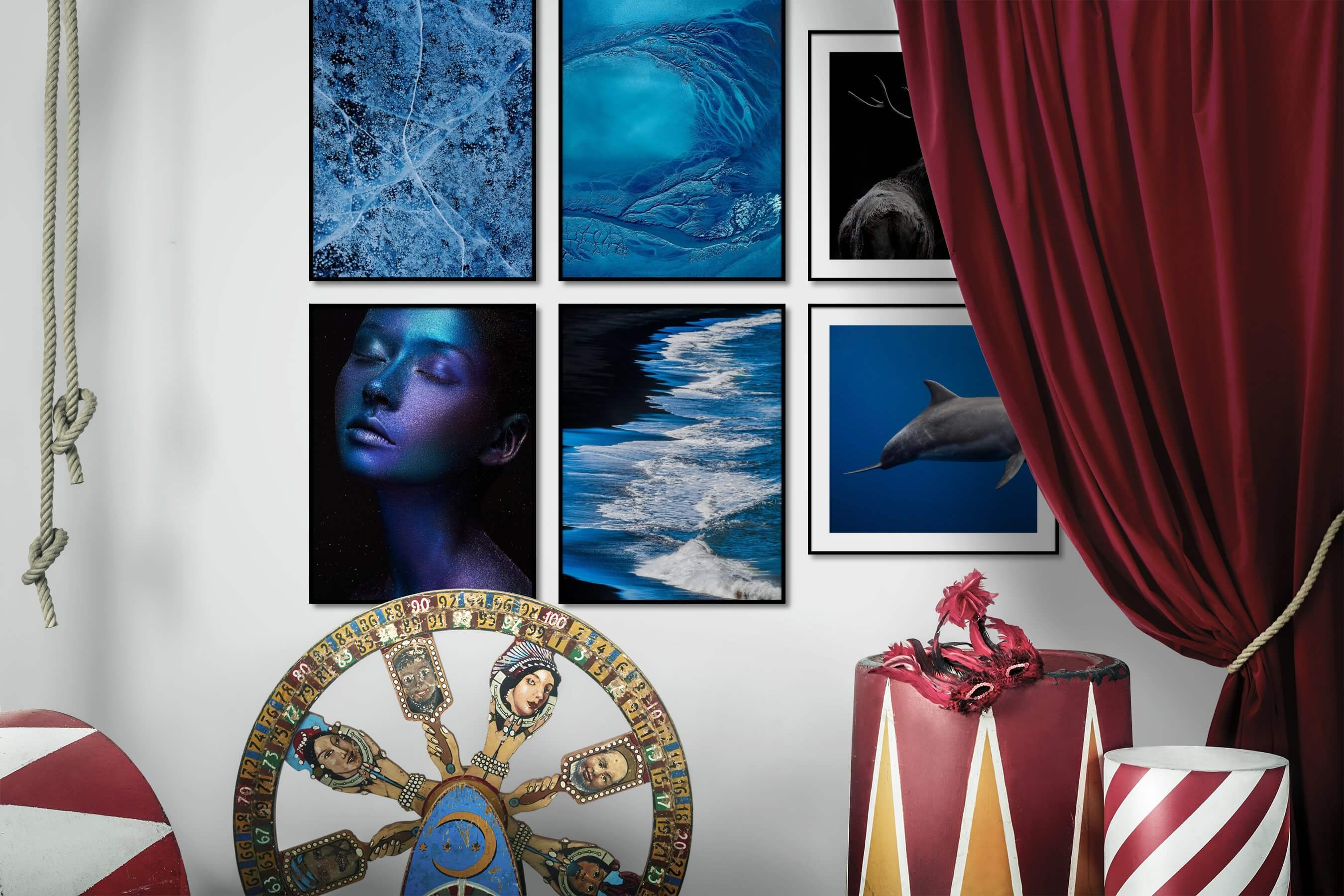 Gallery wall idea with six framed pictures arranged on a wall depicting For the Moderate, Nature, Colorful, Fashion & Beauty, Beach & Water, Dark Tones, Animals, and For the Minimalist