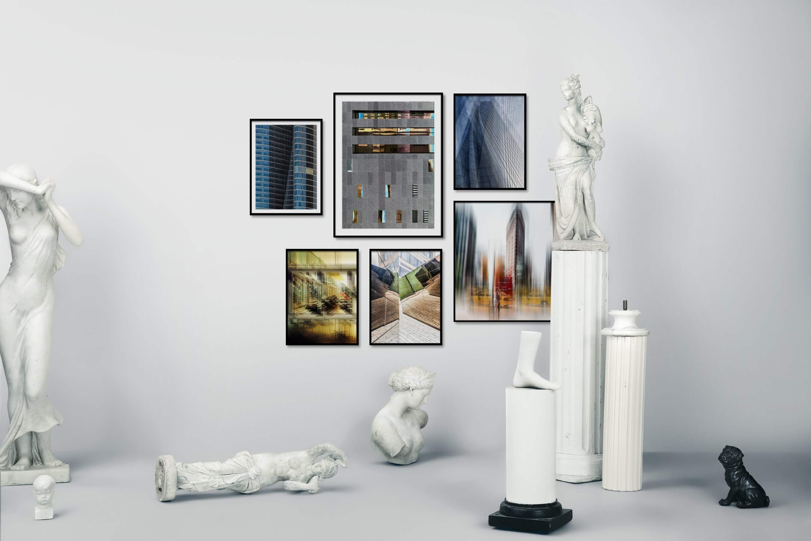 Gallery wall idea with six framed pictures arranged on a wall depicting For the Moderate, City Life, For the Maximalist, and Americana
