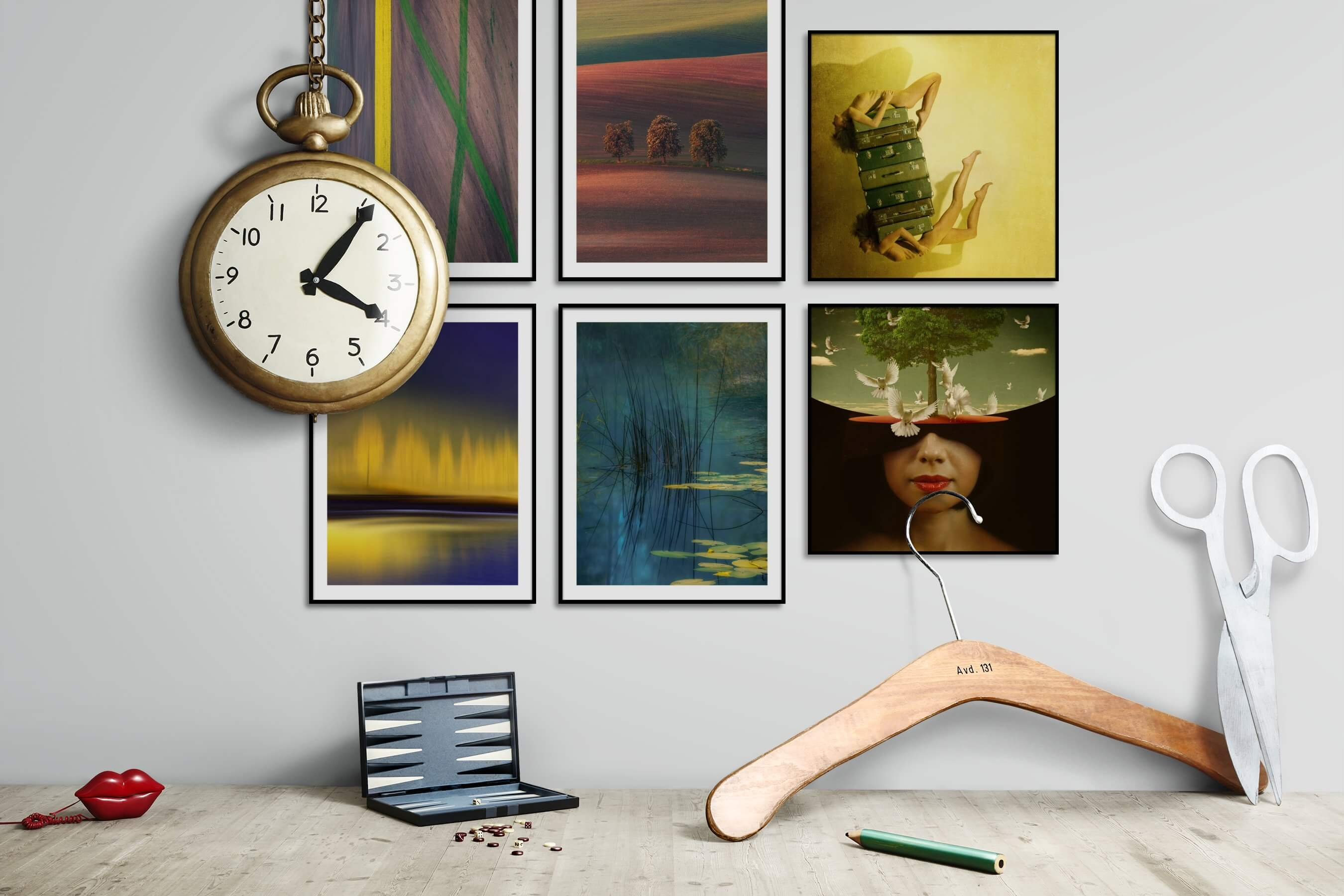 Gallery wall idea with six framed pictures arranged on a wall depicting Country Life, For the Moderate, Nature, Artsy, Bold, and Dark Tones
