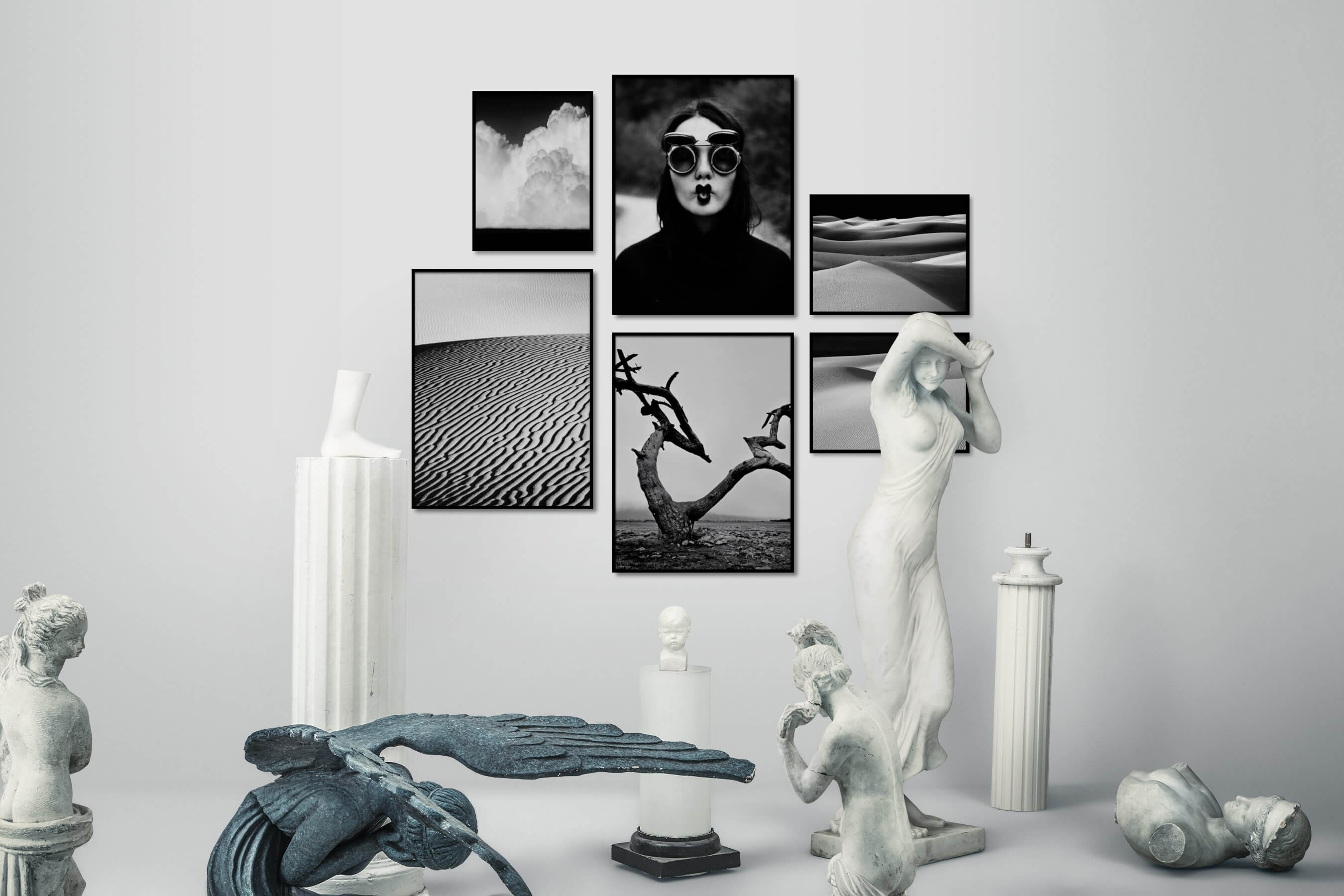 Gallery wall idea with six framed pictures arranged on a wall depicting Black & White, Country Life, Mindfulness, Artsy, For the Minimalist, Nature, and For the Moderate