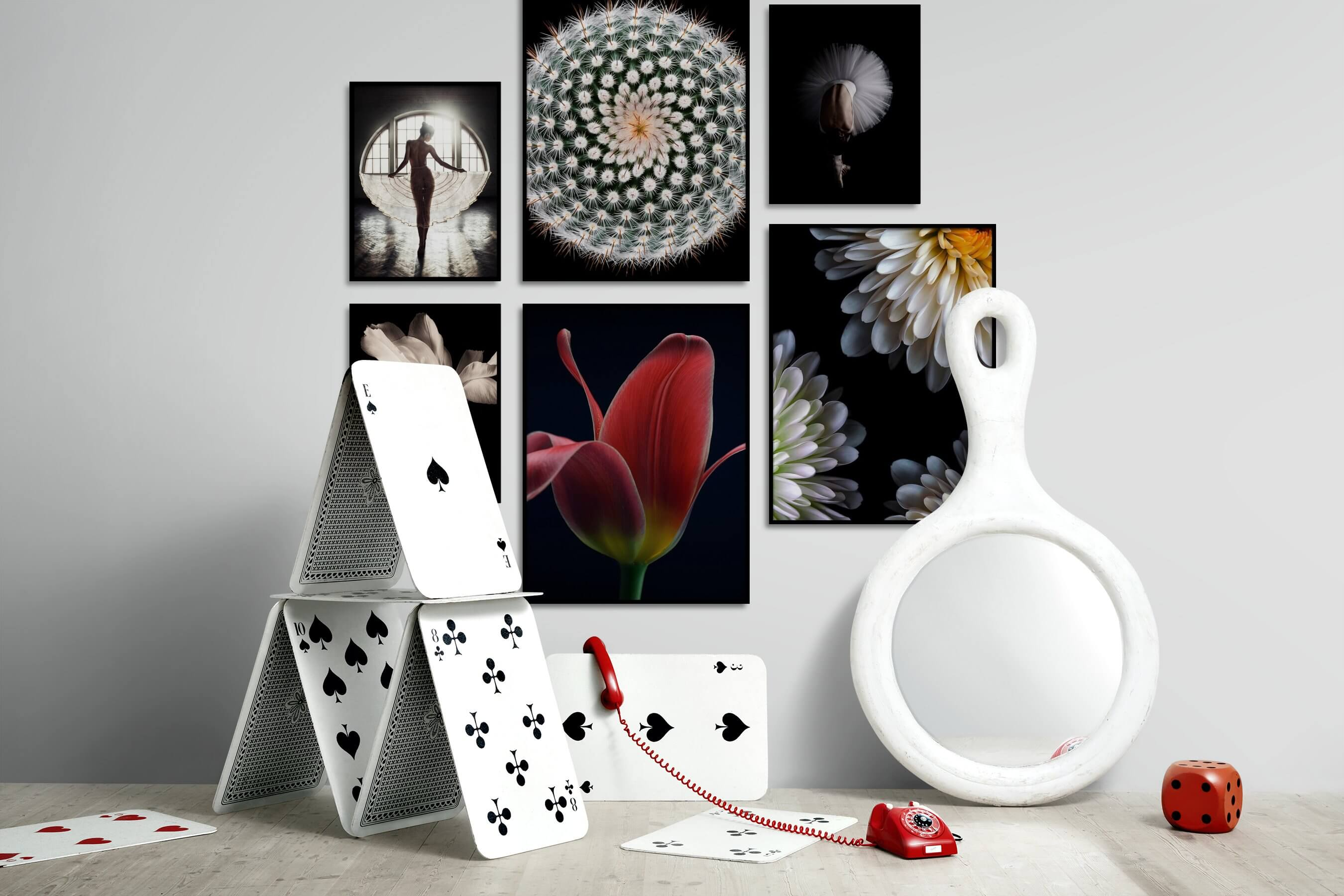 Gallery wall idea with six framed pictures arranged on a wall depicting Fashion & Beauty, Dark Tones, For the Moderate, Flowers & Plants, For the Minimalist, and Mindfulness