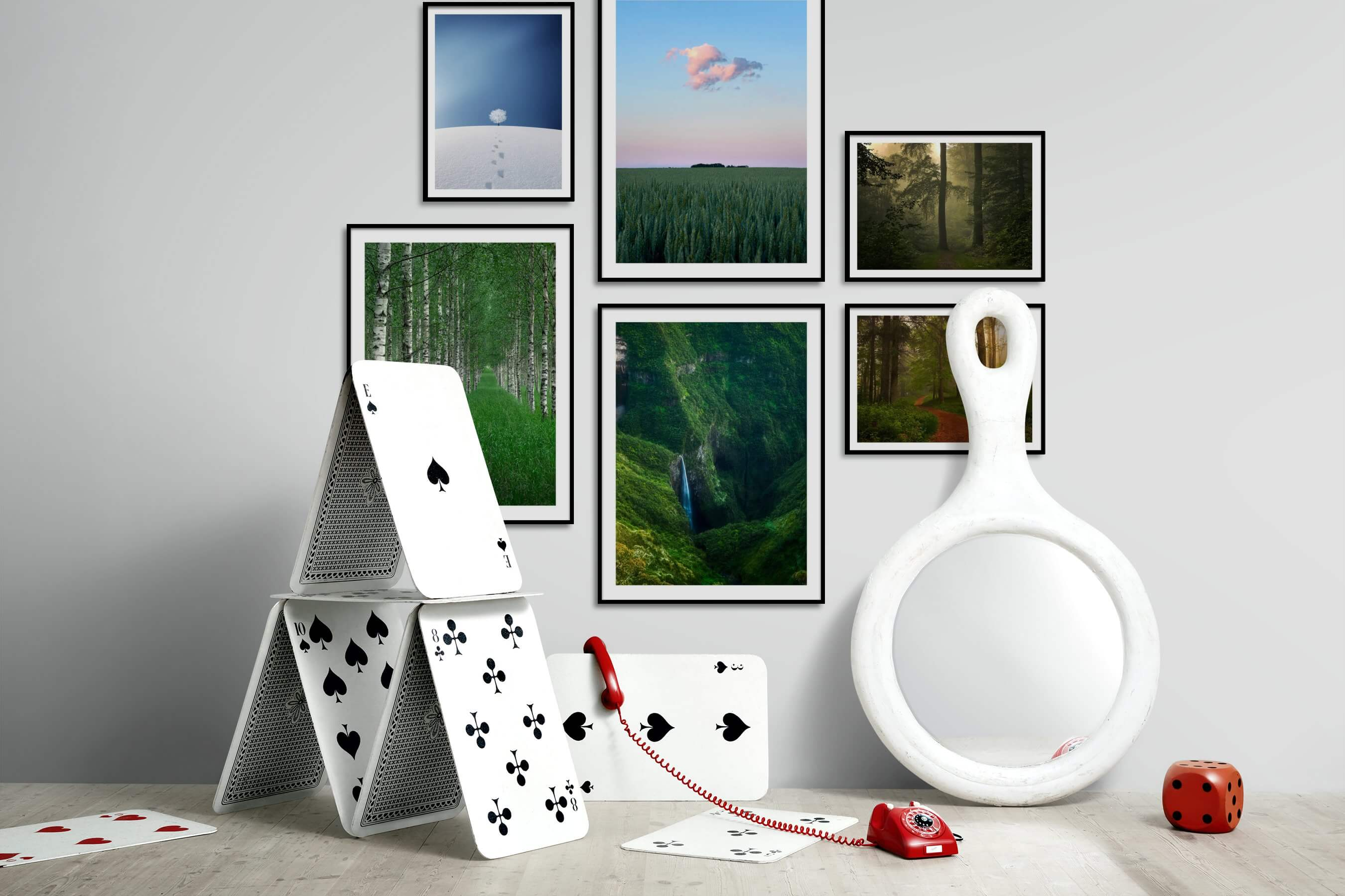 Gallery wall idea with six framed pictures arranged on a wall depicting For the Minimalist, Country Life, Mindfulness, and Nature