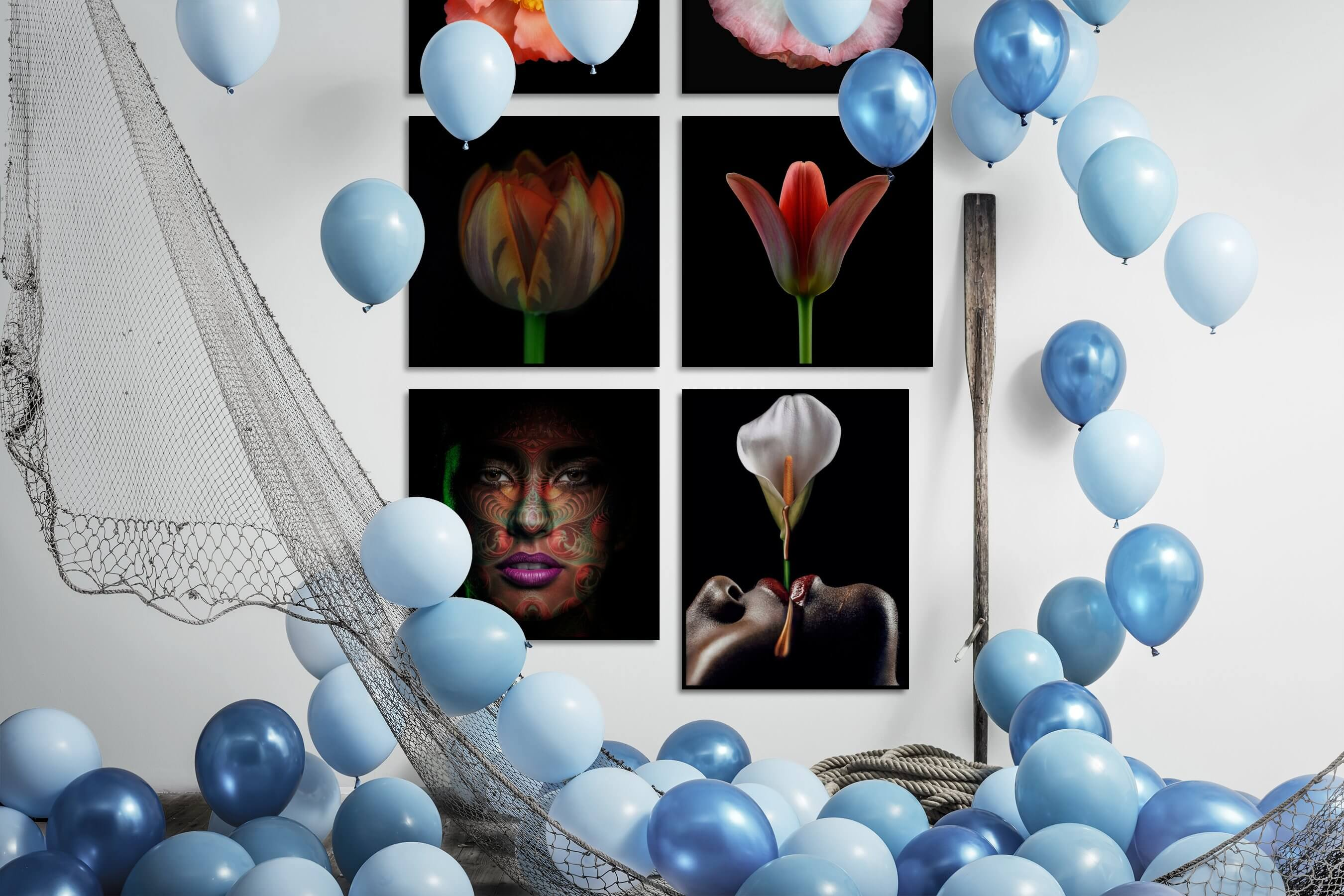 Gallery wall idea with six framed pictures arranged on a wall depicting Dark Tones, For the Minimalist, Flowers & Plants, Fashion & Beauty, and For the Moderate