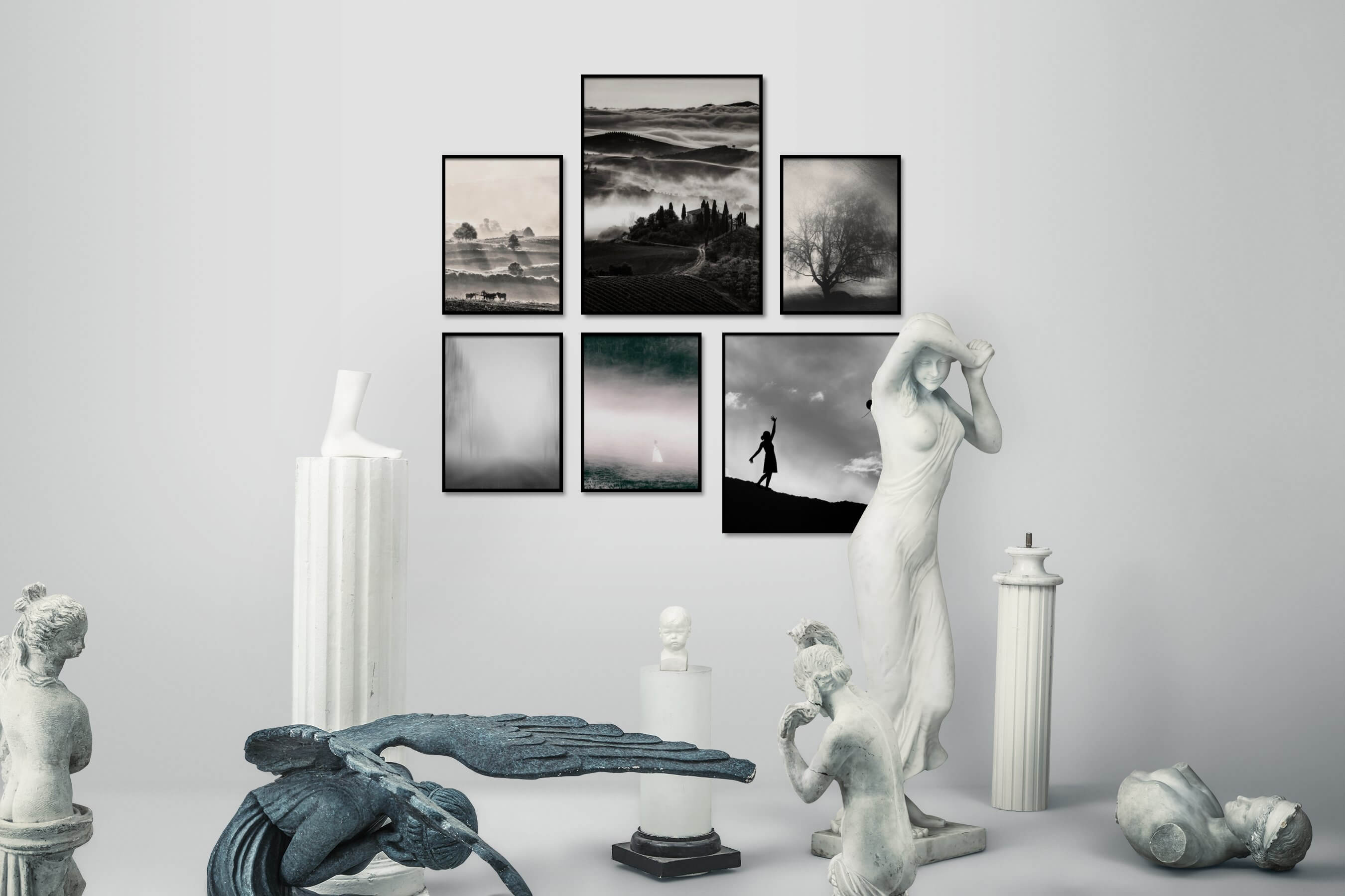 Gallery wall idea with six framed pictures arranged on a wall depicting Animals, Country Life, Black & White, For the Minimalist, Mindfulness, and Nature