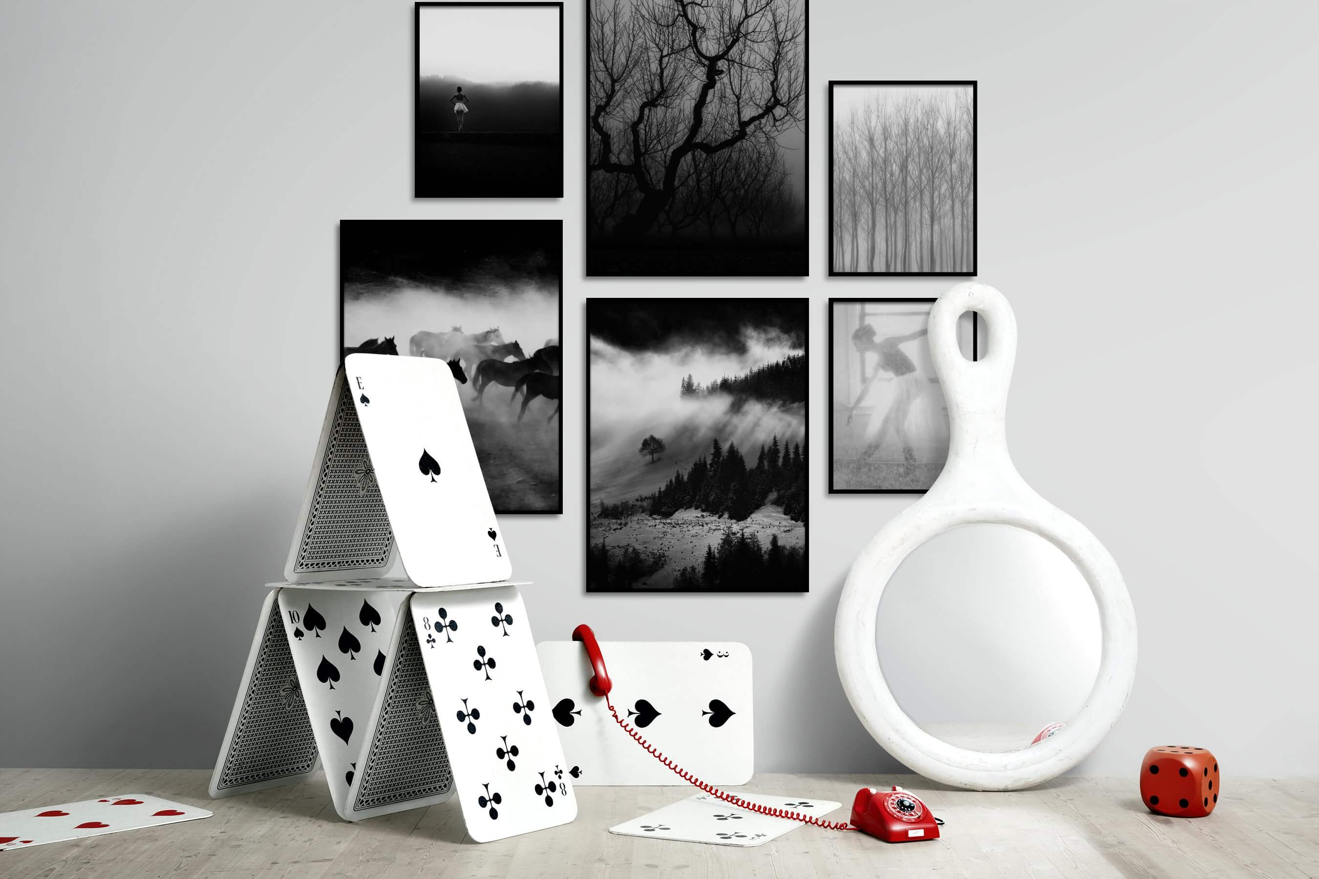 Gallery wall idea with six framed pictures arranged on a wall depicting Fashion & Beauty, Black & White, Mindfulness, For the Moderate, Nature, Animals, and Country Life