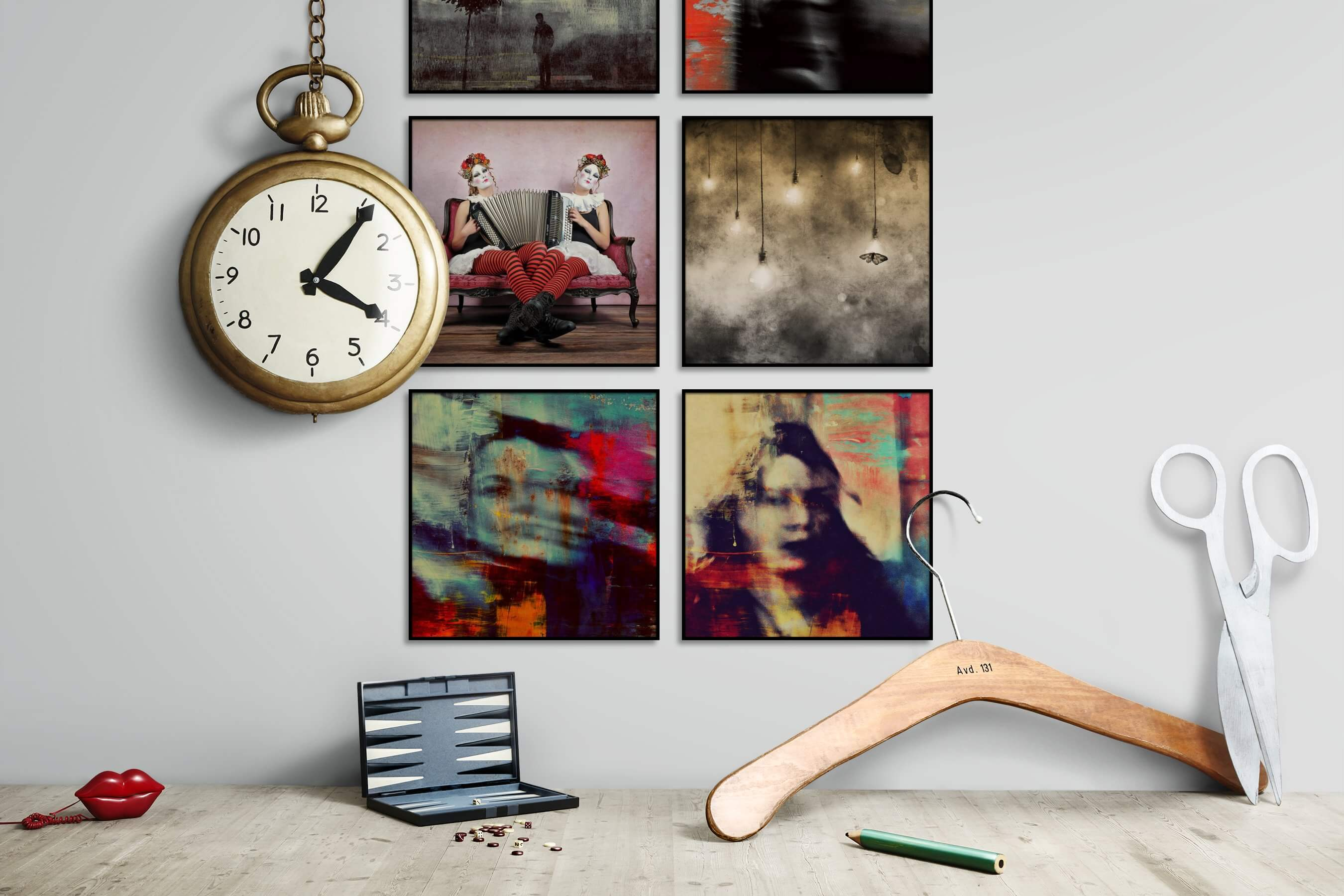 Gallery wall idea with six framed pictures arranged on a wall depicting Artsy