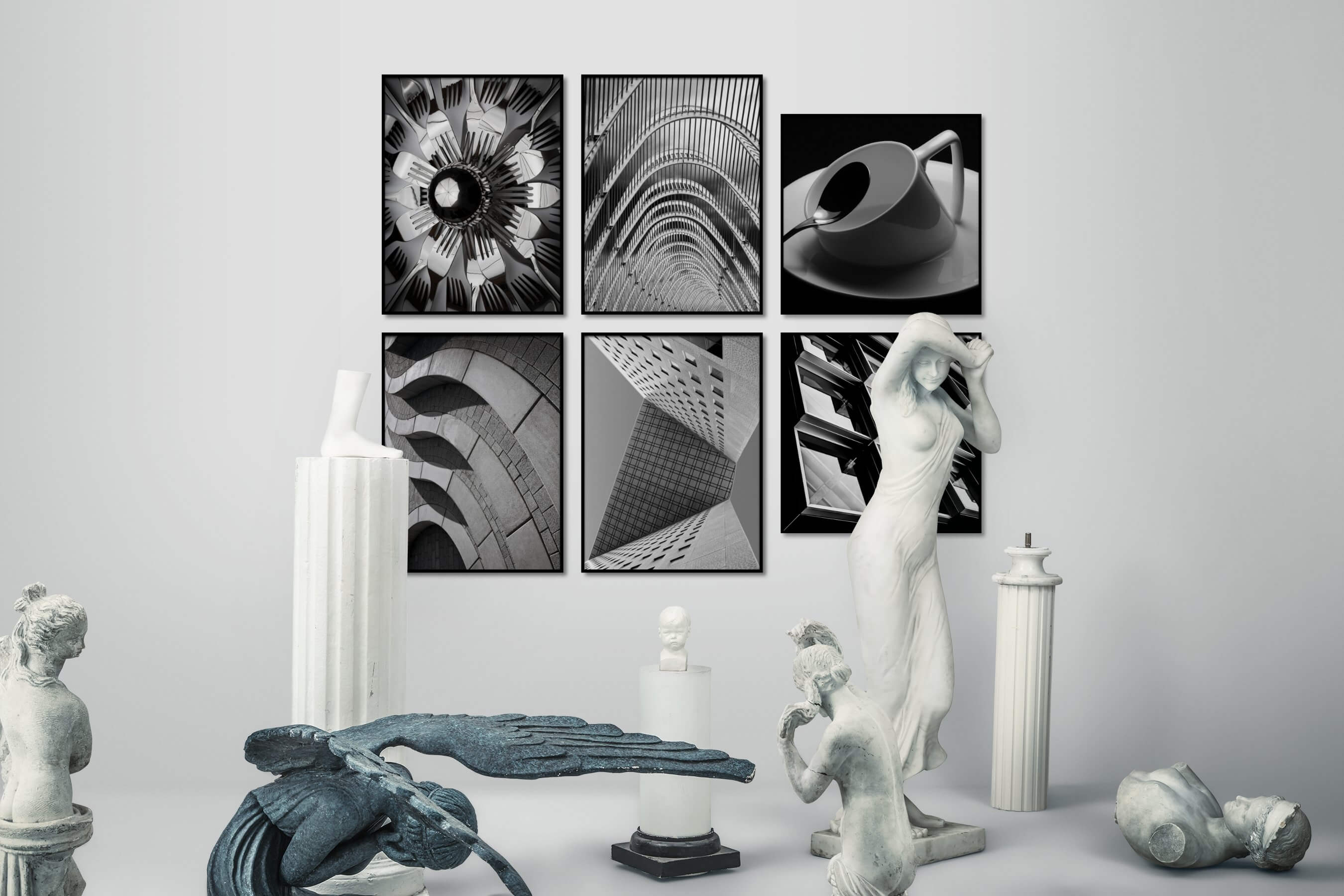 Gallery wall idea with six framed pictures arranged on a wall depicting Black & White, For the Maximalist, For the Moderate, and Artsy