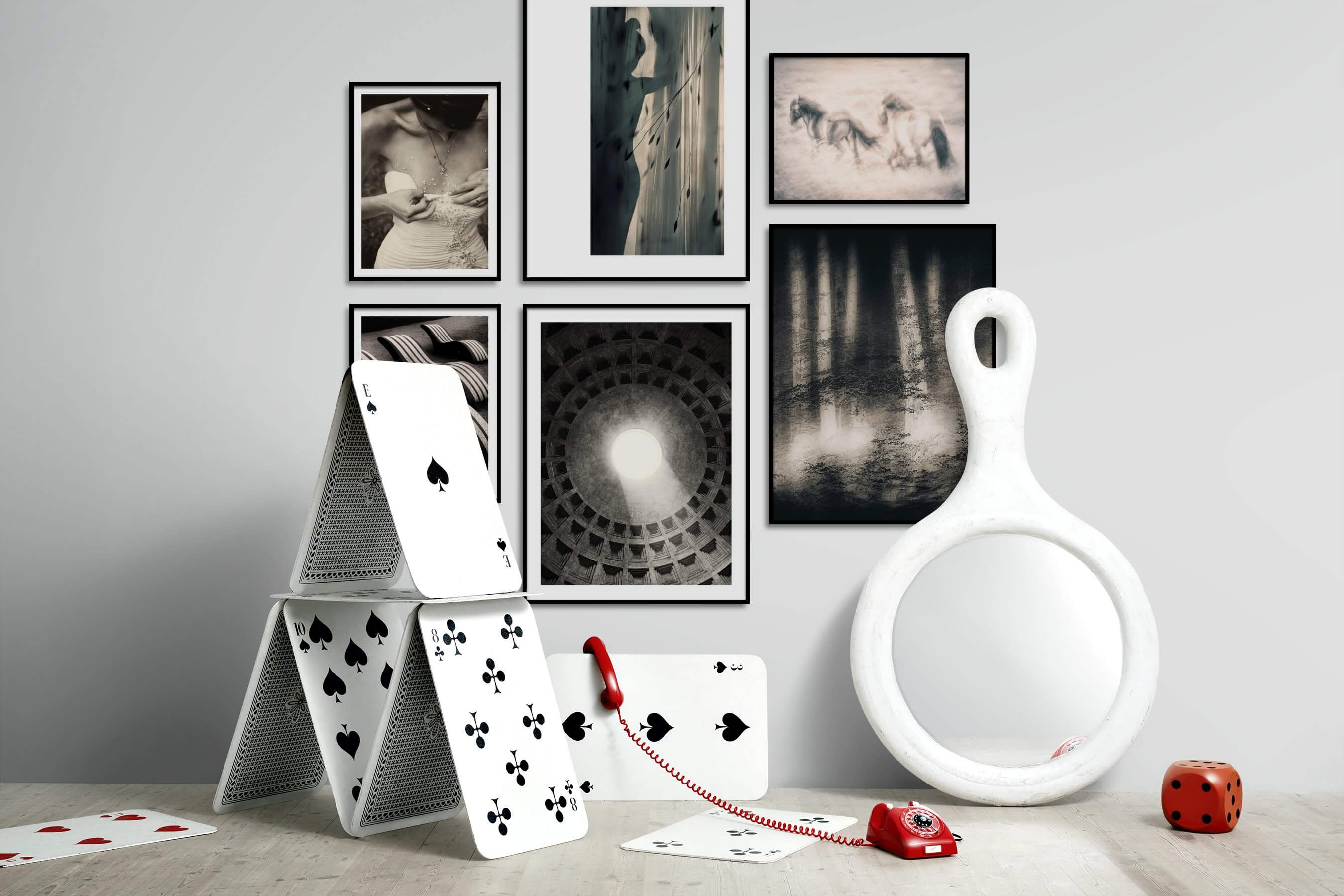 Gallery wall idea with six framed pictures arranged on a wall depicting Fashion & Beauty, Black & White, For the Moderate, Animals, Country Life, and Nature
