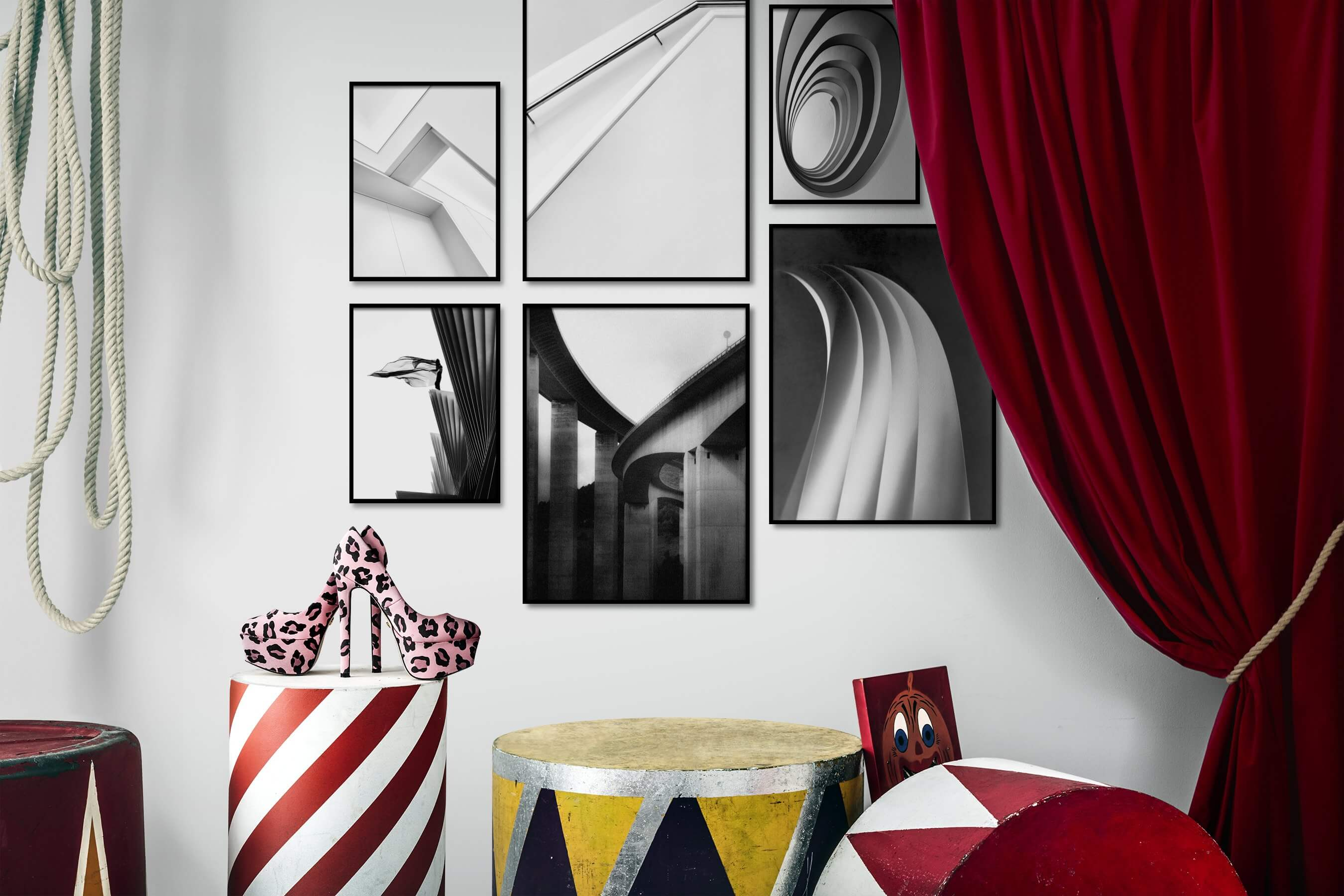 Gallery wall idea with six framed pictures arranged on a wall depicting Black & White, Bright Tones, For the Moderate, and For the Minimalist