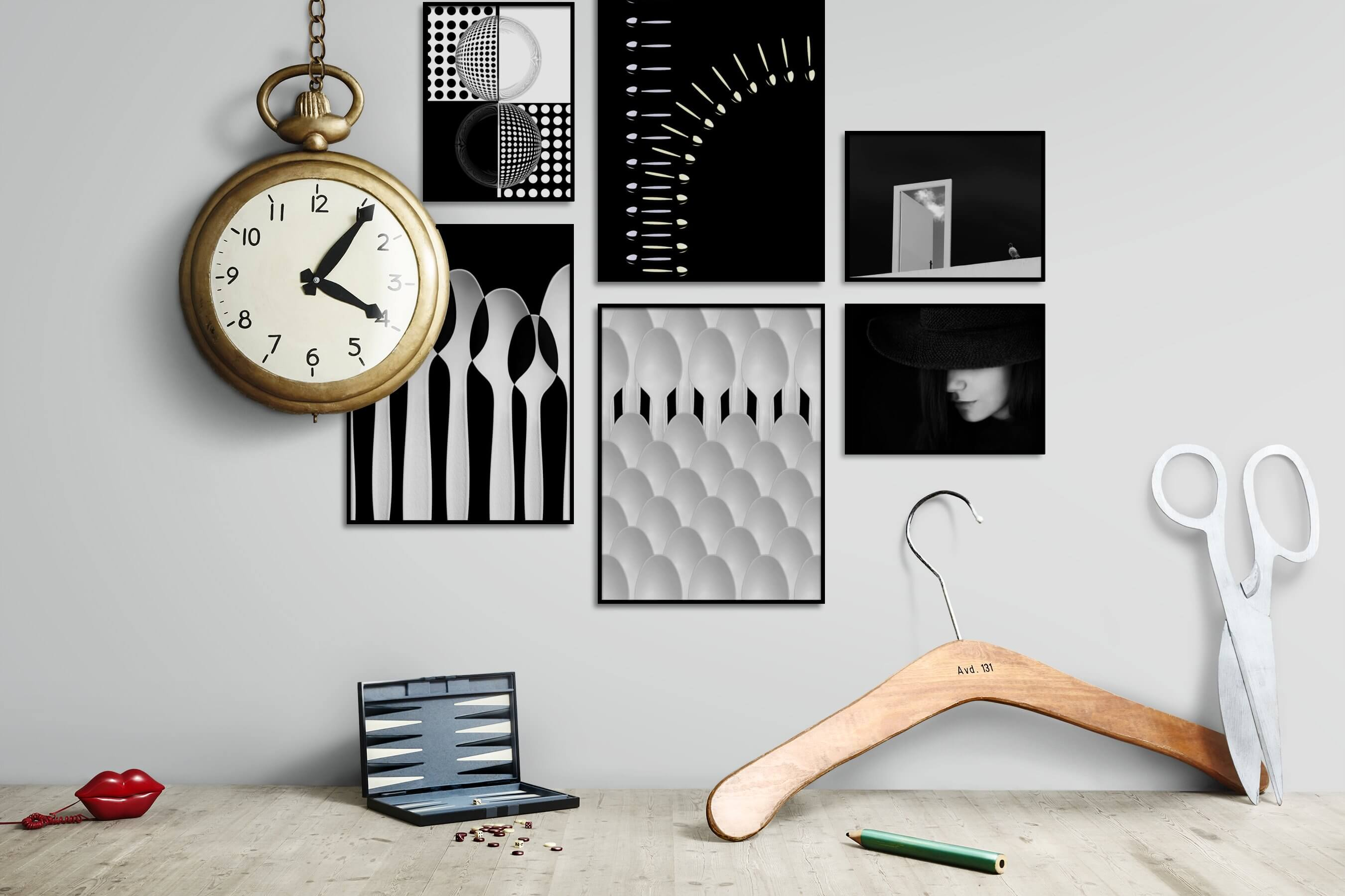 Gallery wall idea with six framed pictures arranged on a wall depicting Black & White, For the Maximalist, Dark Tones, For the Minimalist, Fashion & Beauty, and For the Moderate
