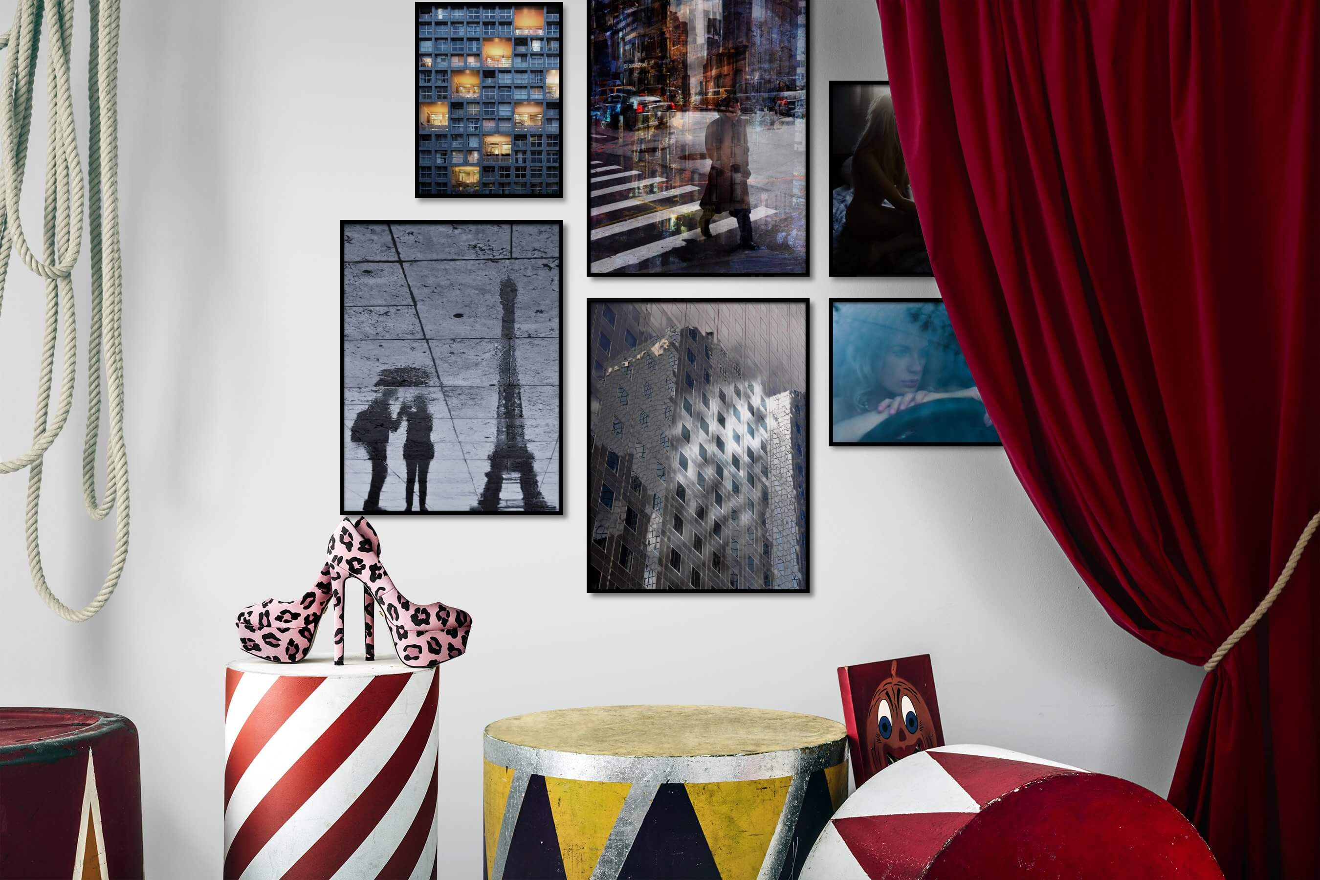 Gallery wall idea with six framed pictures arranged on a wall depicting For the Maximalist, City Life, Americana, Black & White, For the Moderate, Artsy, Bold, and Fashion & Beauty