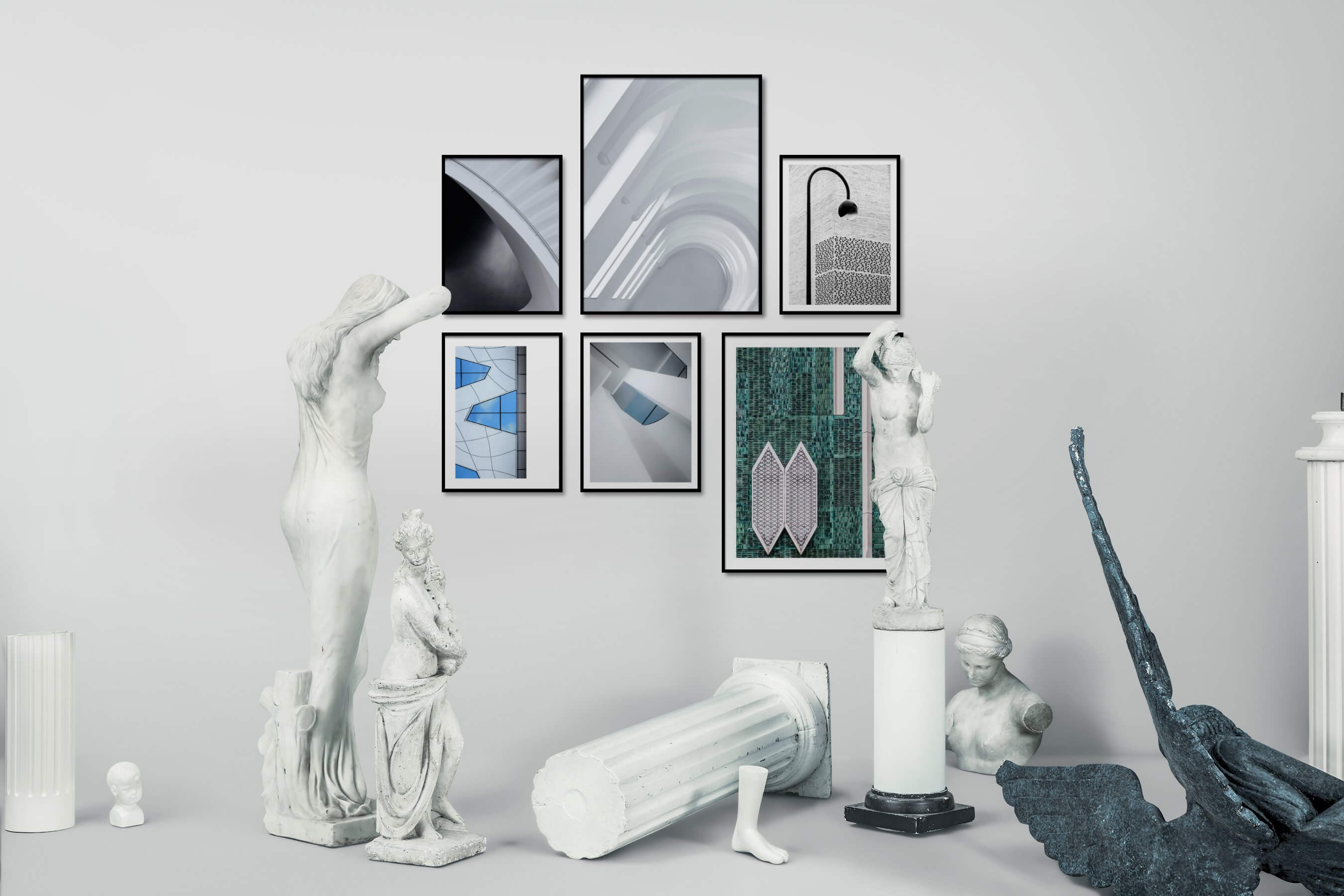 Gallery wall idea with six framed pictures arranged on a wall depicting For the Moderate, For the Maximalist, Black & White, For the Minimalist, and City Life