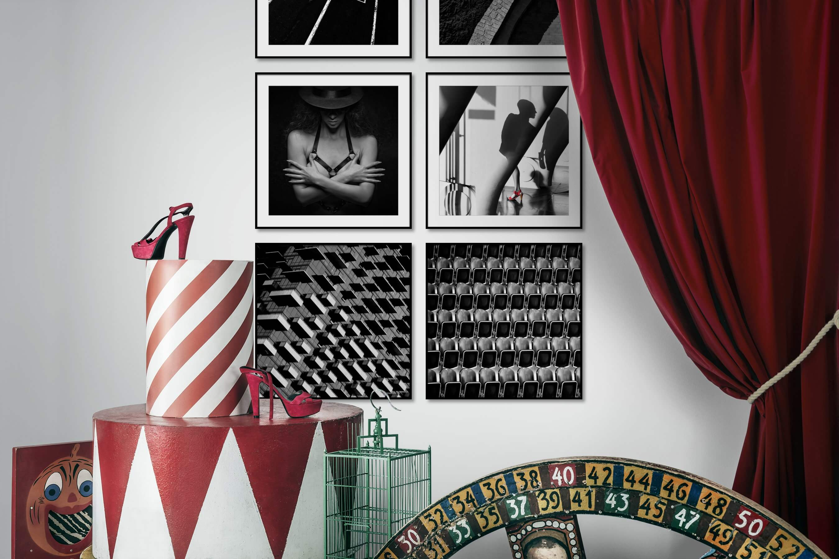 Gallery wall idea with six framed pictures arranged on a wall depicting Black & White, For the Moderate, Vintage, For the Minimalist, Beach & Water, Fashion & Beauty, City Life, and For the Maximalist