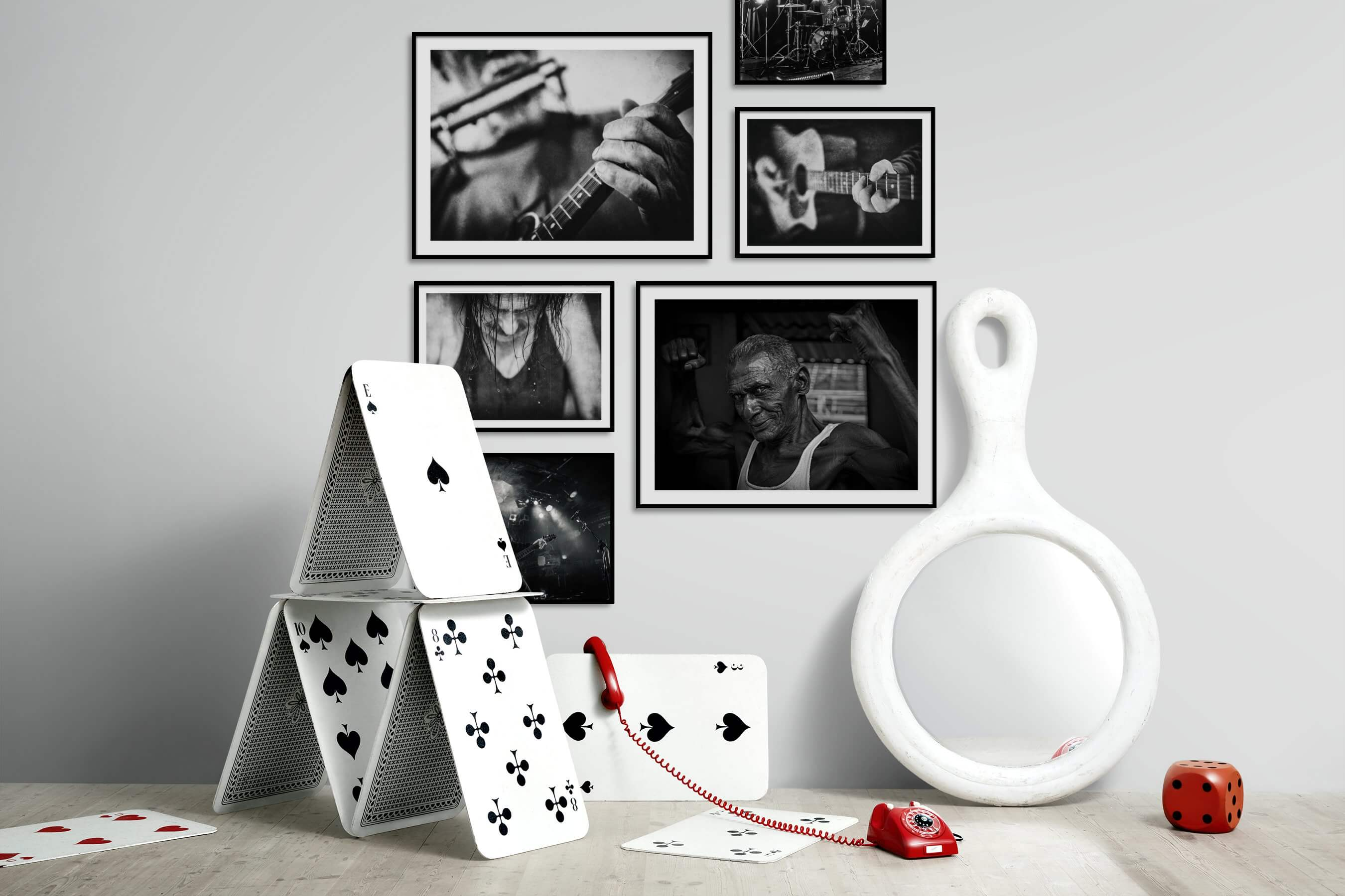 Gallery wall idea with six framed pictures arranged on a wall depicting Black & White and Fashion & Beauty