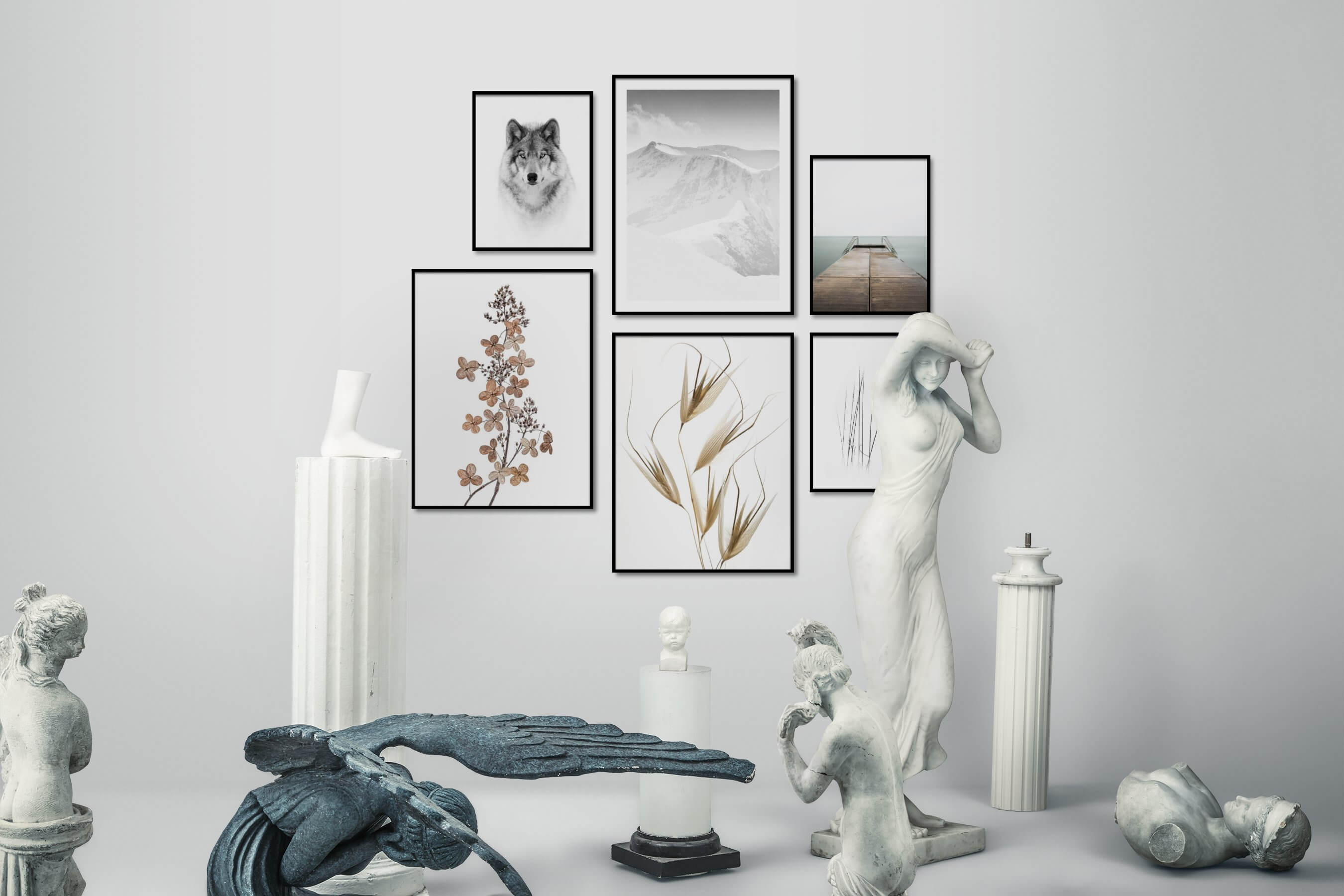 Gallery wall idea with six framed pictures arranged on a wall depicting Black & White, Bright Tones, For the Minimalist, Animals, Nature, Flowers & Plants, Mindfulness, and Beach & Water