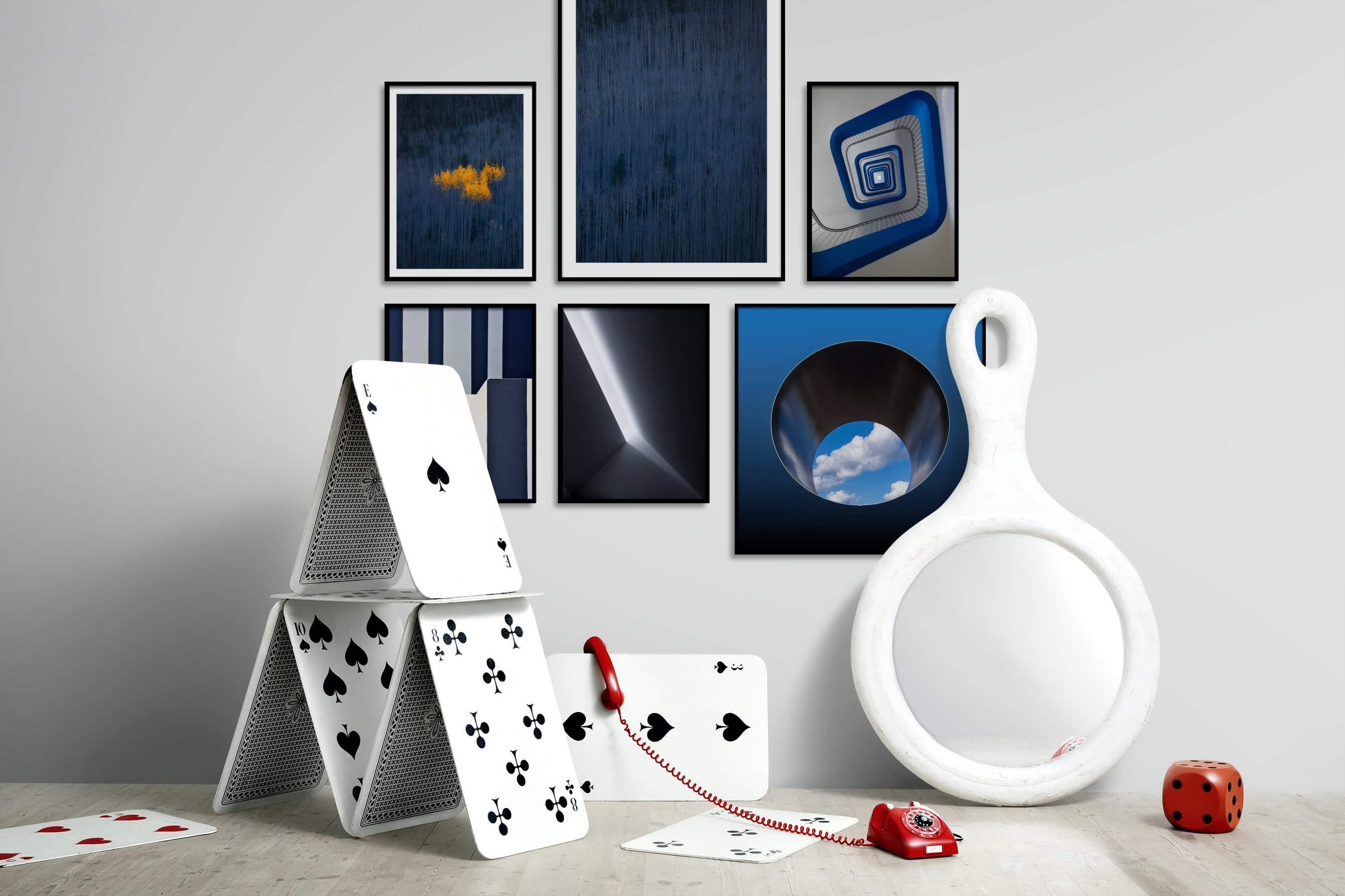 Gallery wall idea with six framed pictures arranged on a wall depicting For the Minimalist, Nature, For the Moderate, Black & White, and Mindfulness