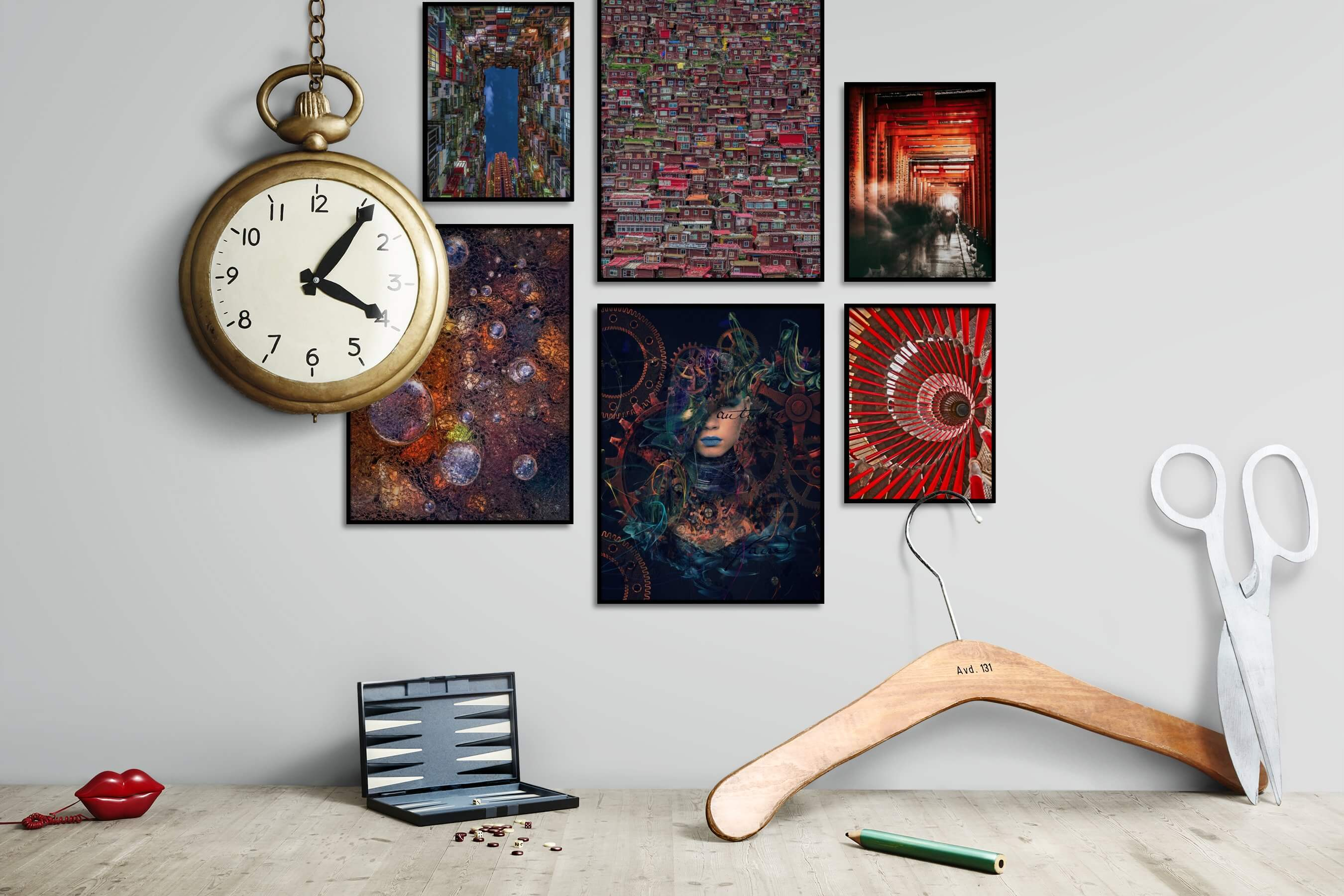 Gallery wall idea with six framed pictures arranged on a wall depicting For the Maximalist, City Life, Fashion & Beauty, and Dark Tones