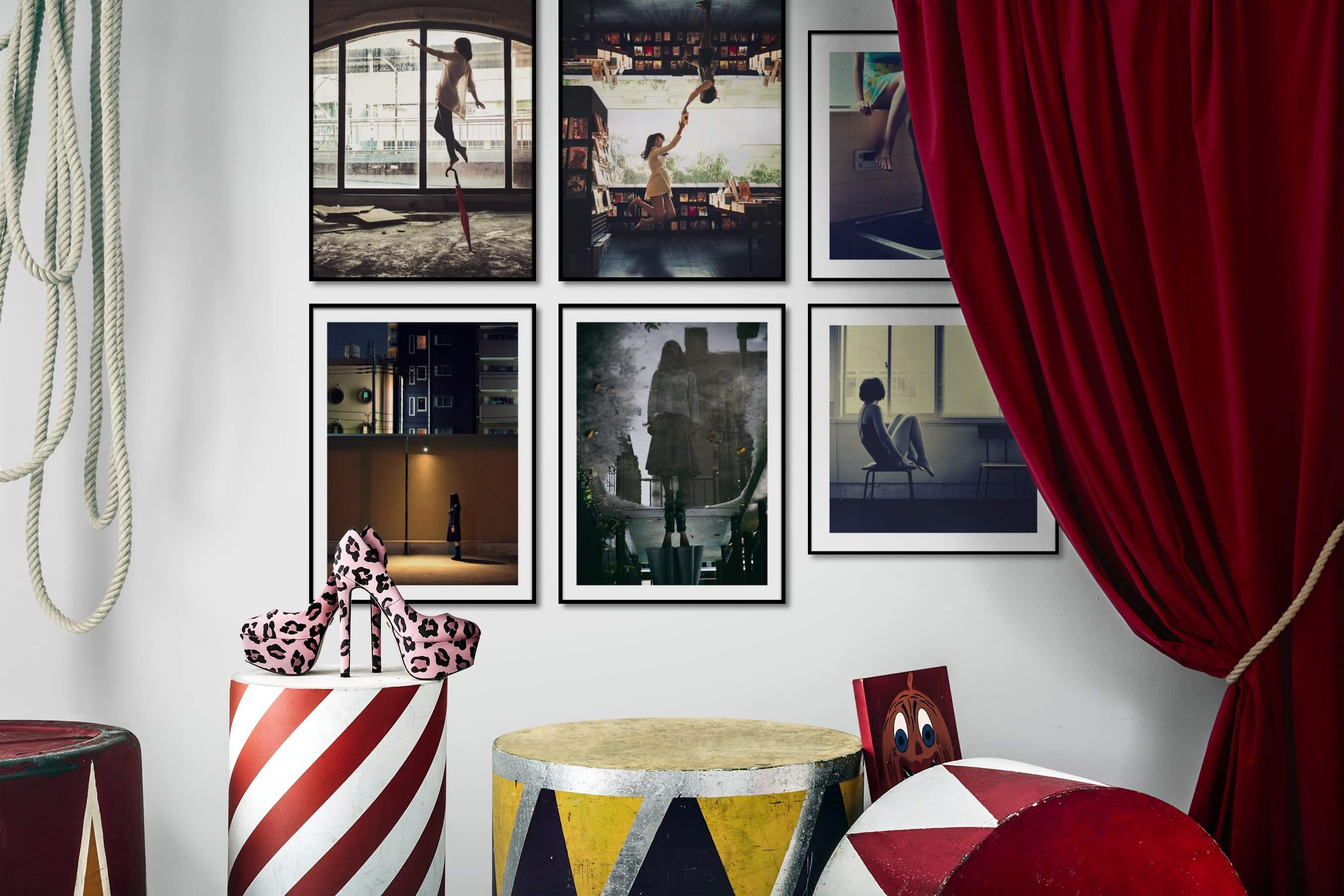 Gallery wall idea with six framed pictures arranged on a wall depicting Artsy, City Life, and For the Moderate