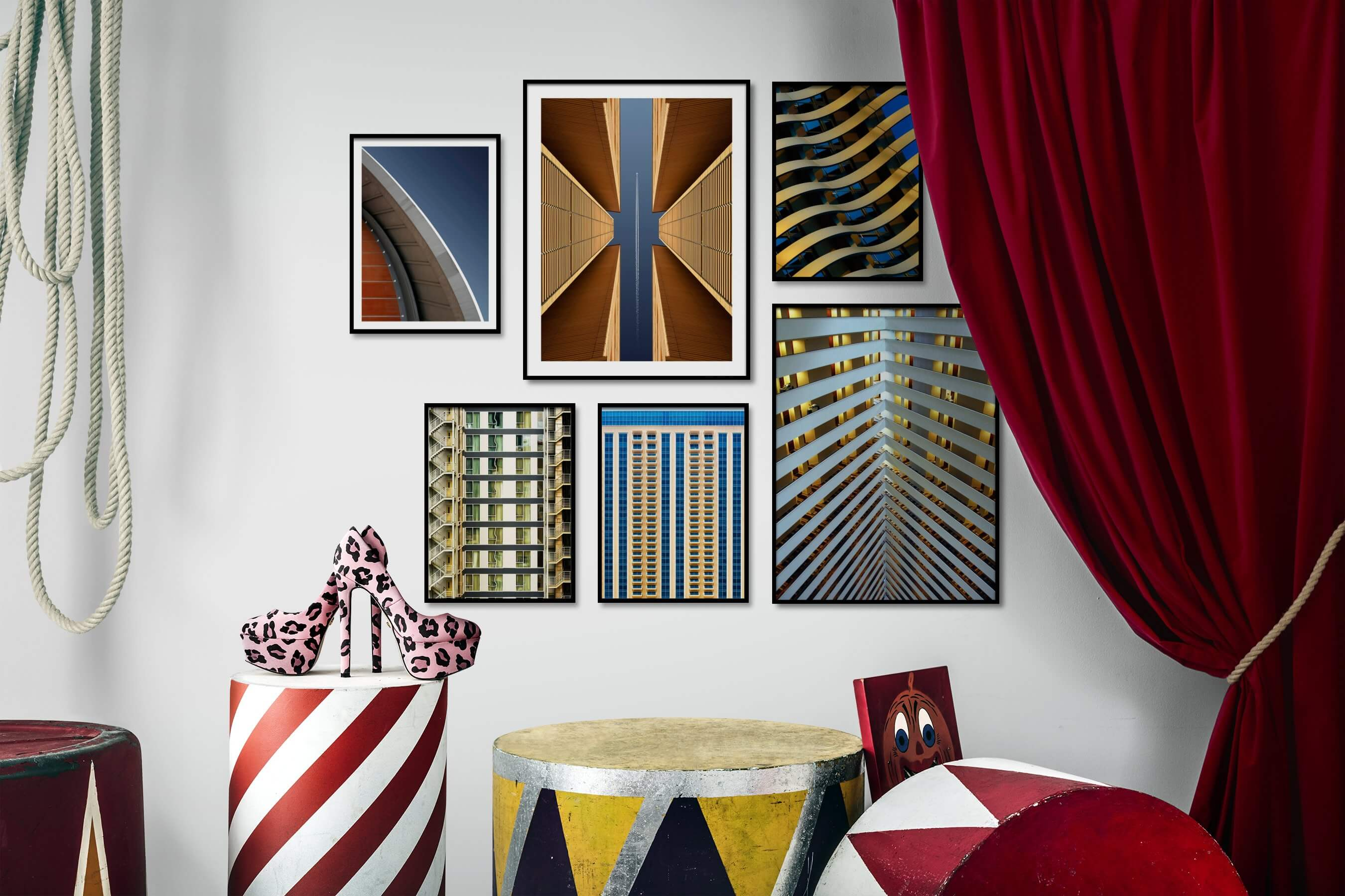 Gallery wall idea with six framed pictures arranged on a wall depicting For the Minimalist, For the Moderate, For the Maximalist, and City Life