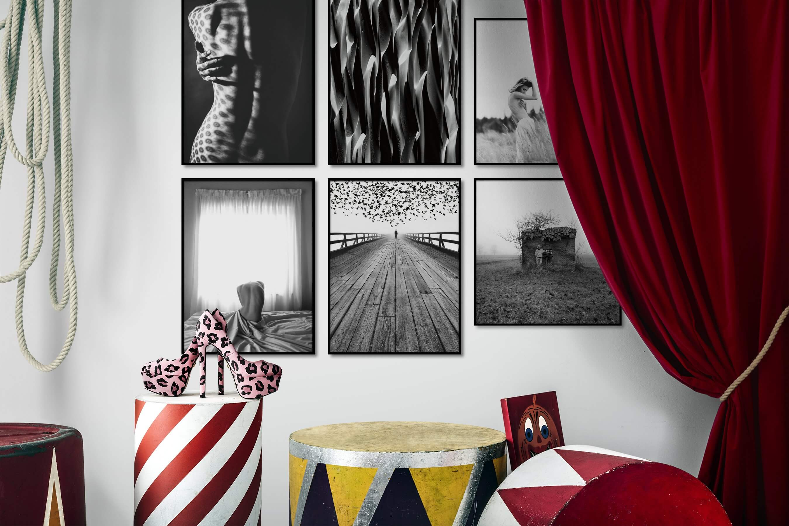 Gallery wall idea with six framed pictures arranged on a wall depicting Fashion & Beauty, Black & White, For the Maximalist, Nature, Artsy, Mindfulness, Bright Tones, and Country Life