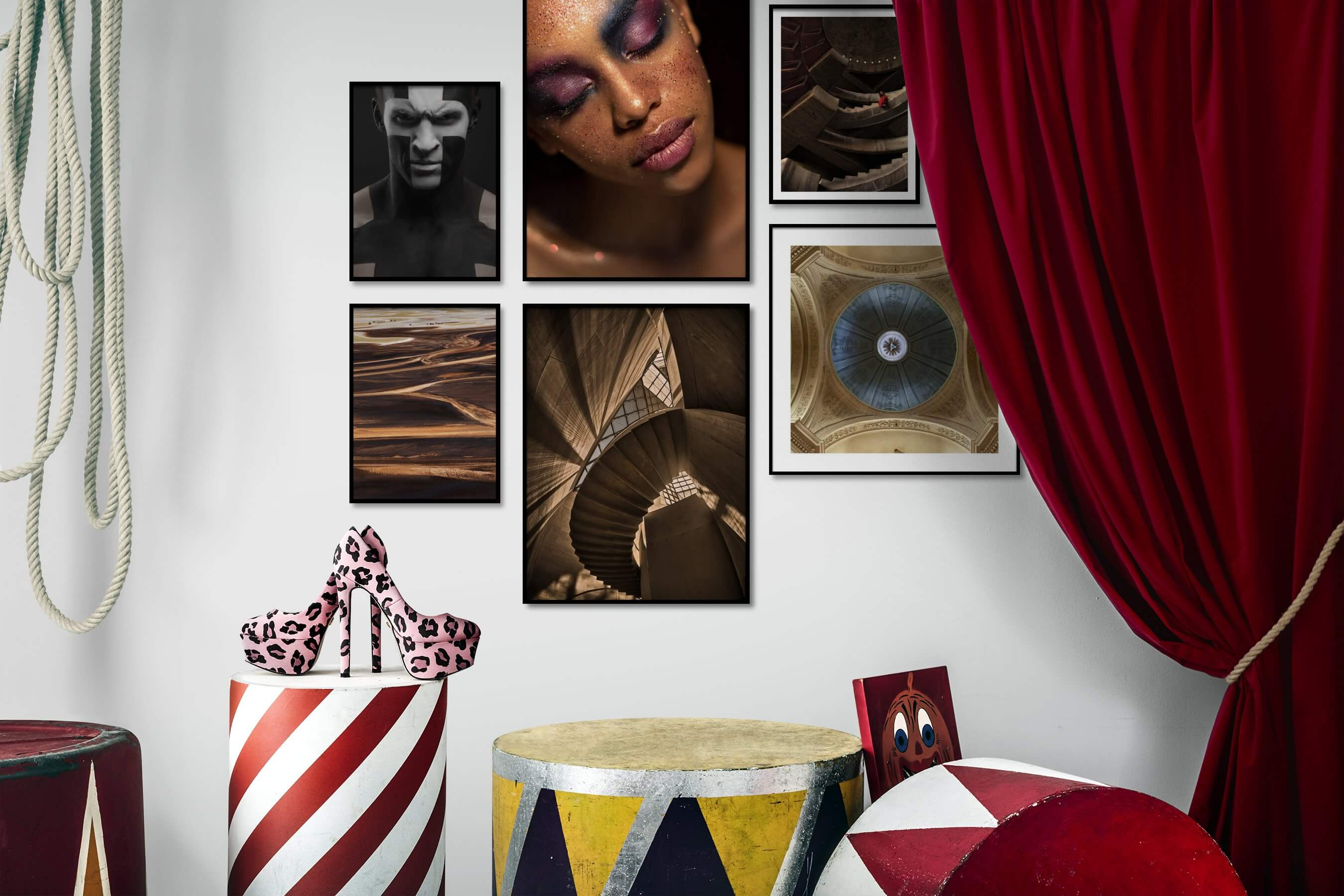 Gallery wall idea with six framed pictures arranged on a wall depicting Fashion & Beauty, For the Moderate, Nature, For the Maximalist, and Vintage