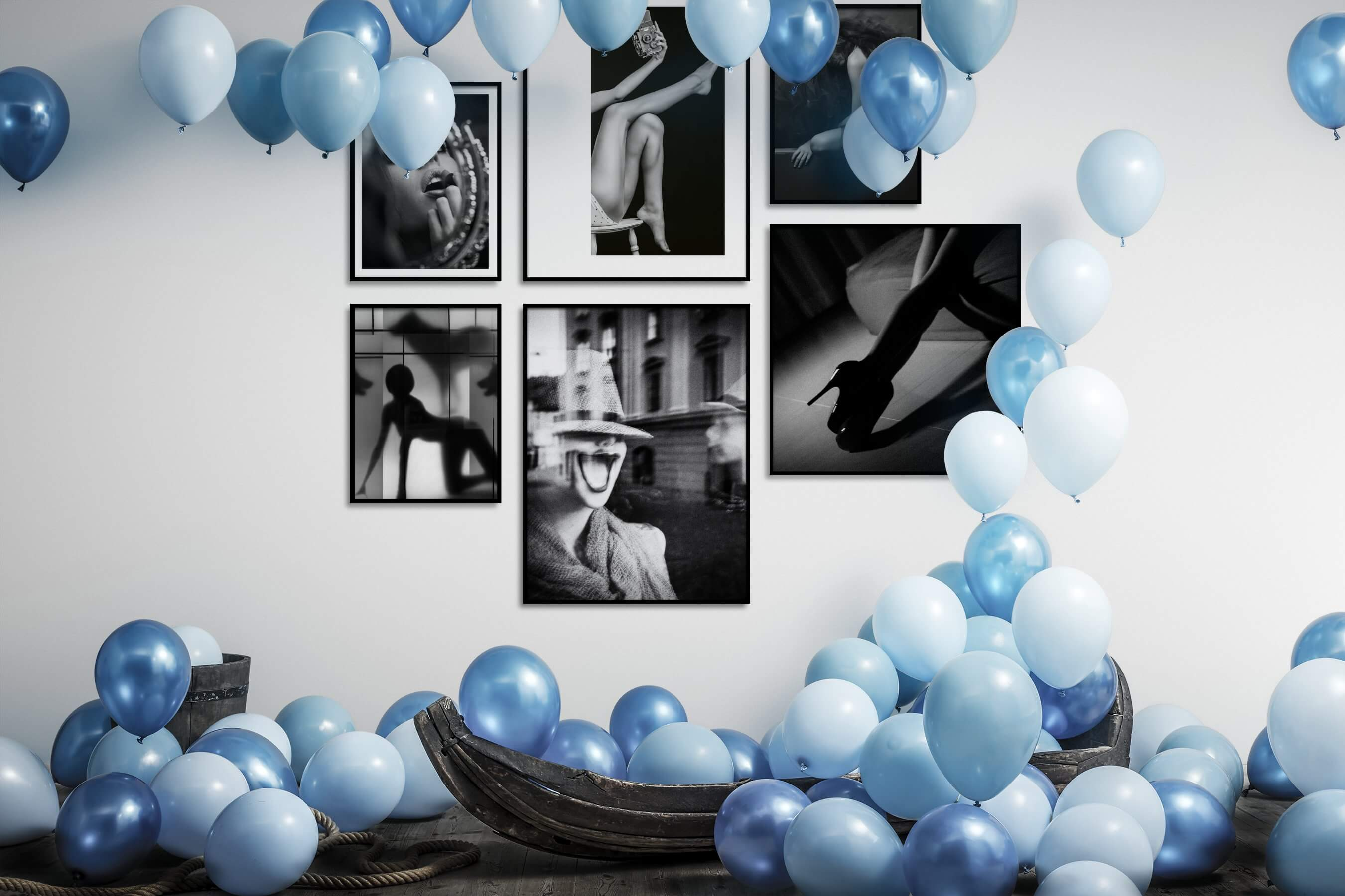 Gallery wall idea with six framed pictures arranged on a wall depicting Fashion & Beauty, Black & White, For the Moderate, Vintage, Artsy, For the Maximalist, and City Life