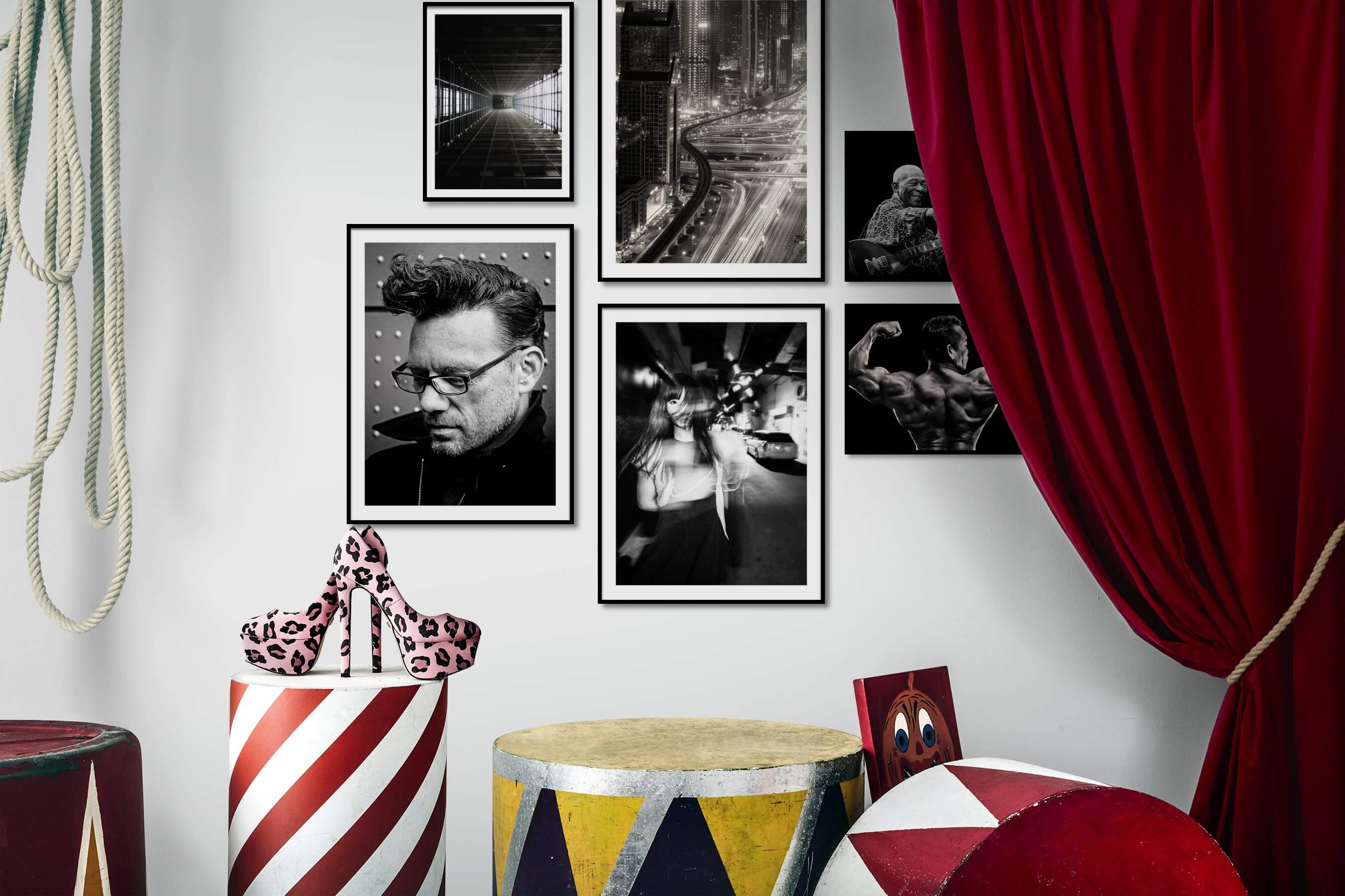 Gallery wall idea with six framed pictures arranged on a wall depicting For the Moderate, Black & White, City Life, Fashion & Beauty, Dark Tones, For the Minimalist, and Americana