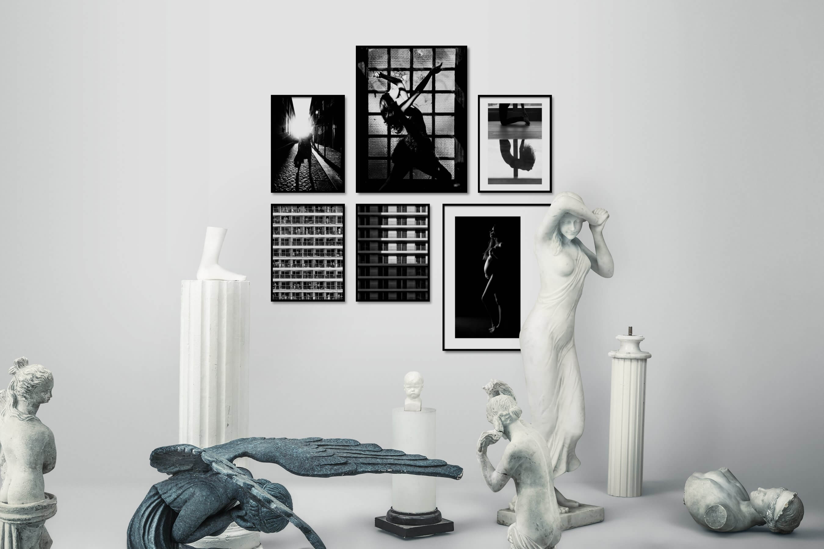 Gallery wall idea with six framed pictures arranged on a wall depicting Artsy, Black & White, City Life, Fashion & Beauty, For the Maximalist, For the Moderate, For the Minimalist, and Mindfulness
