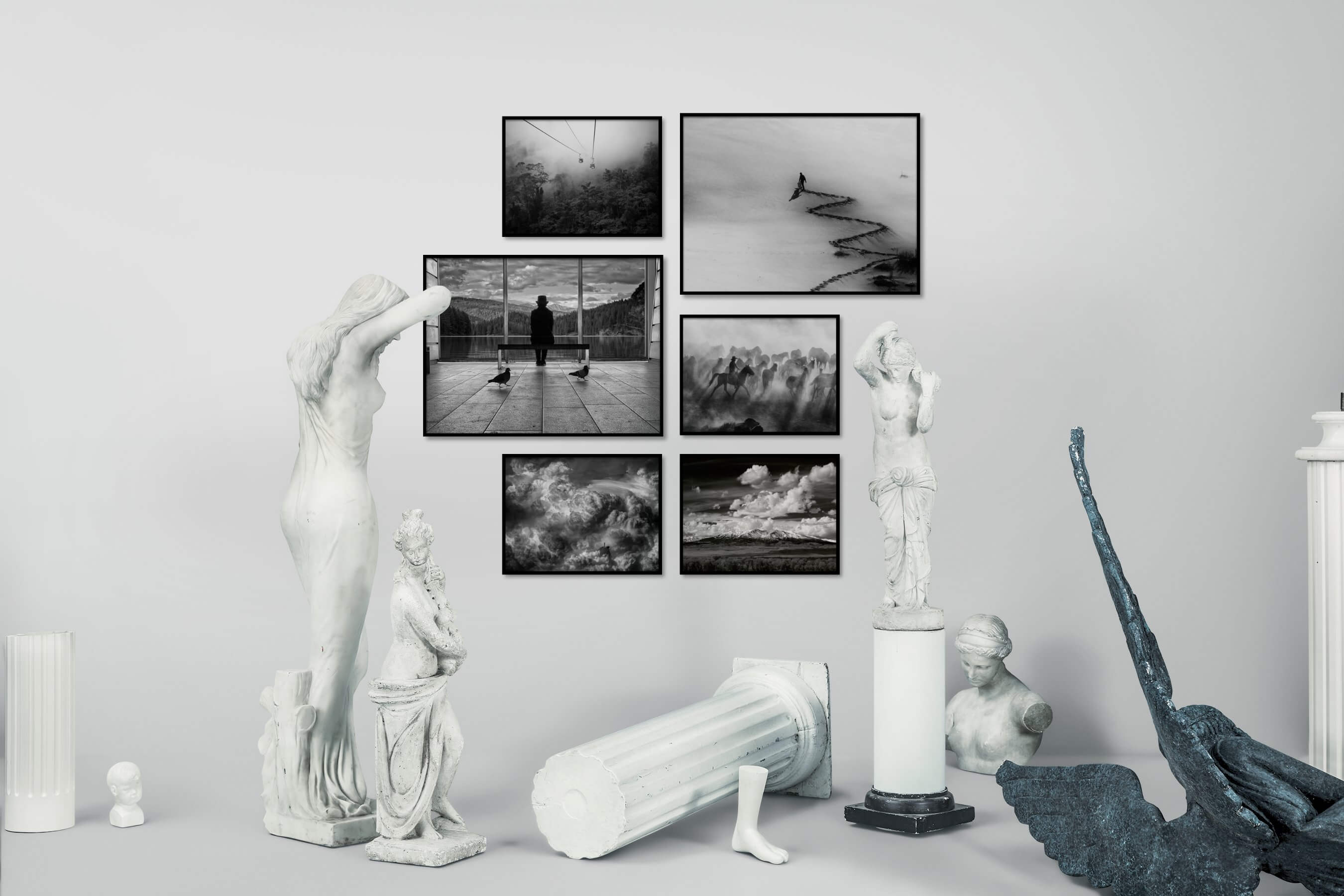 Gallery wall idea with six framed pictures arranged on a wall depicting Black & White, Nature, For the Minimalist, Artsy, Mindfulness, Animals, Country Life, and For the Maximalist