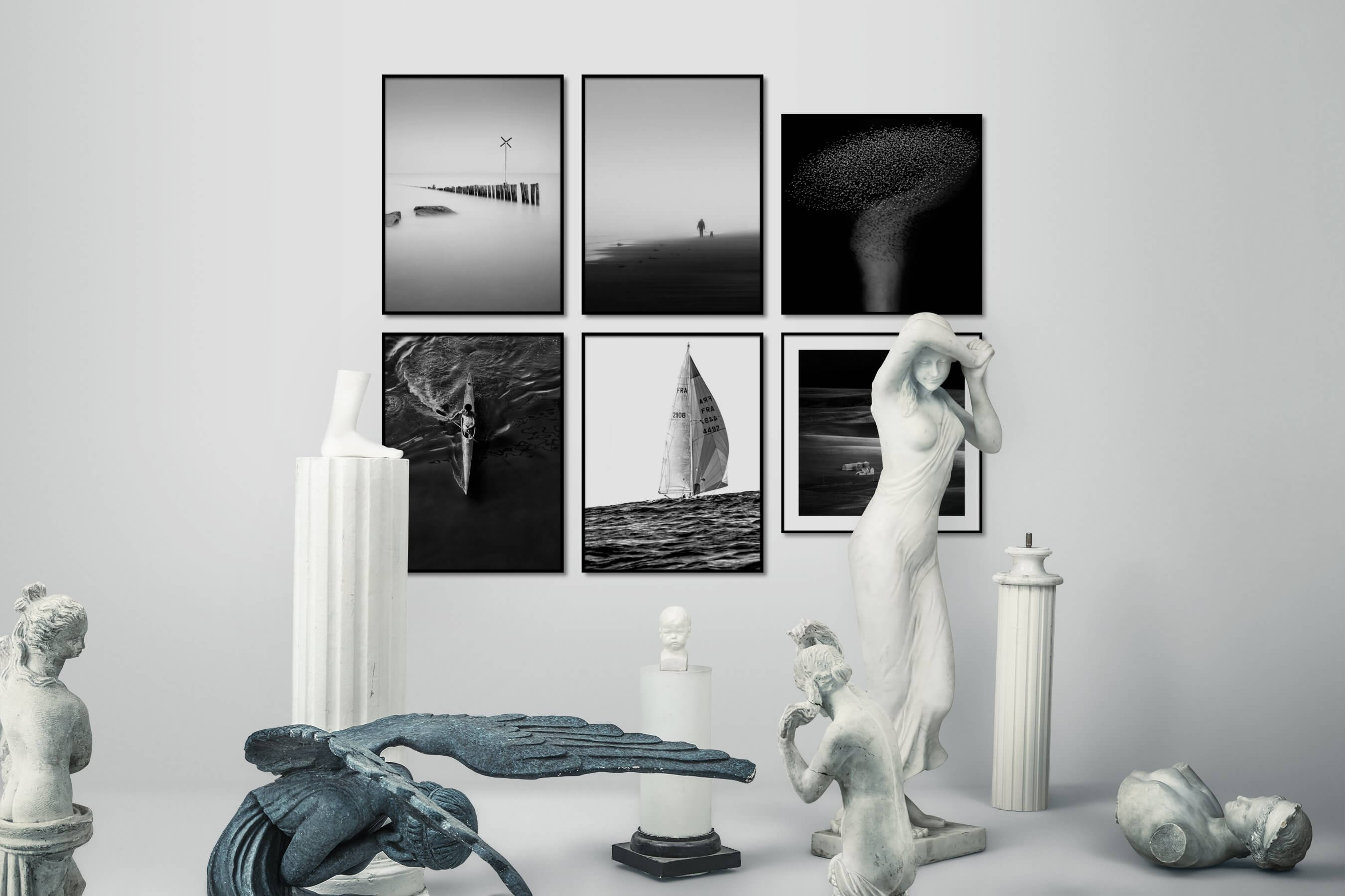 Gallery wall idea with six framed pictures arranged on a wall depicting Black & White, For the Minimalist, Mindfulness, Beach & Water, Dark Tones, Animals, and Country Life