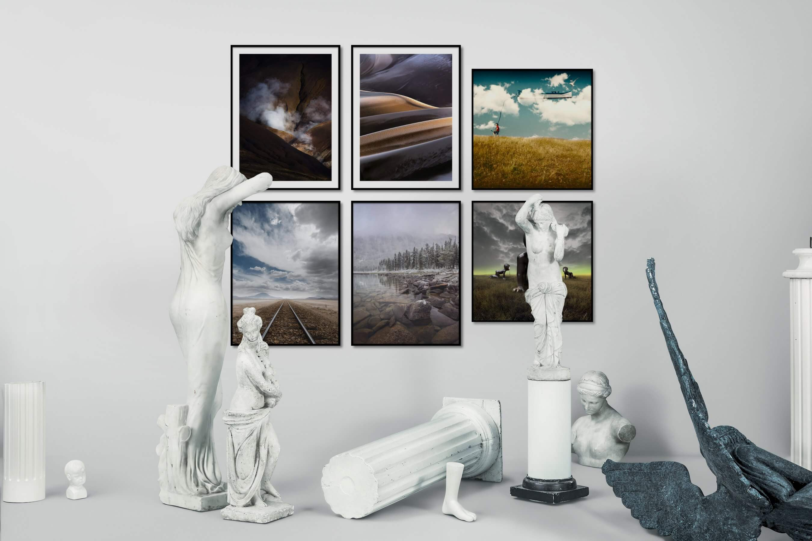 Gallery wall idea with six framed pictures arranged on a wall depicting Nature, For the Moderate, Country Life, Mindfulness, and Artsy