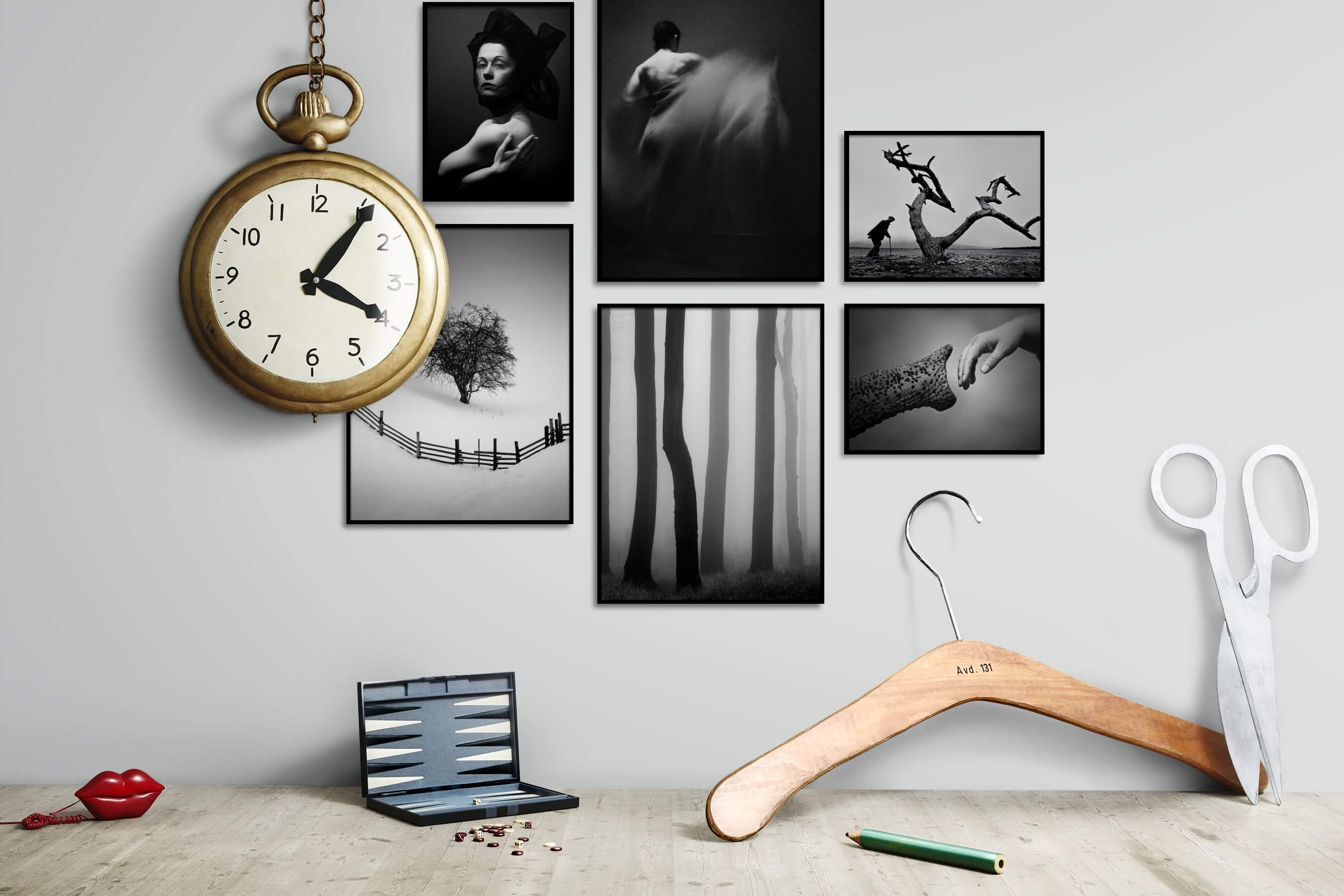 Gallery wall idea with six framed pictures arranged on a wall depicting Fashion & Beauty, Black & White, Dark Tones, For the Minimalist, Country Life, For the Moderate, Nature, and Animals